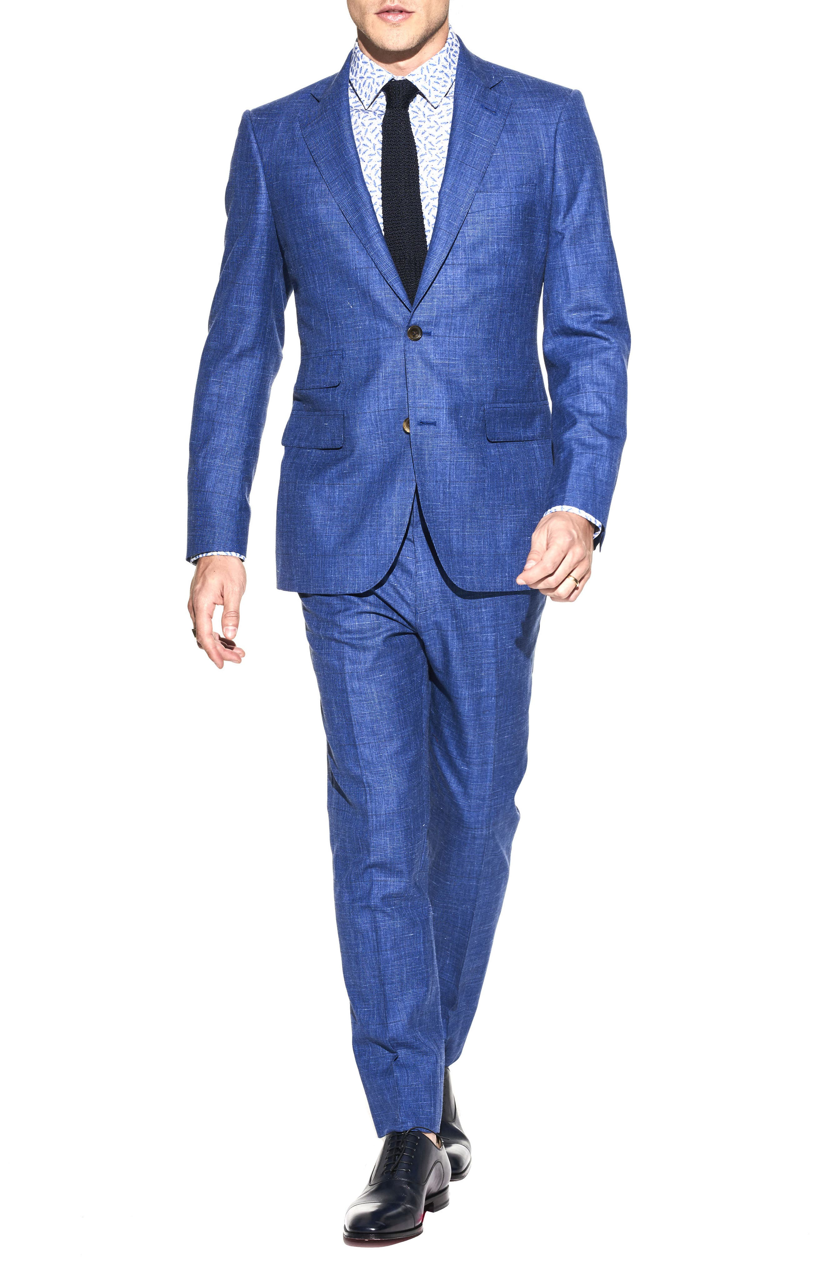 by Ilaria Urbinati Kilgore Slim Fit Plaid Wool Blend Suit,                             Main thumbnail 1, color,                             Blue
