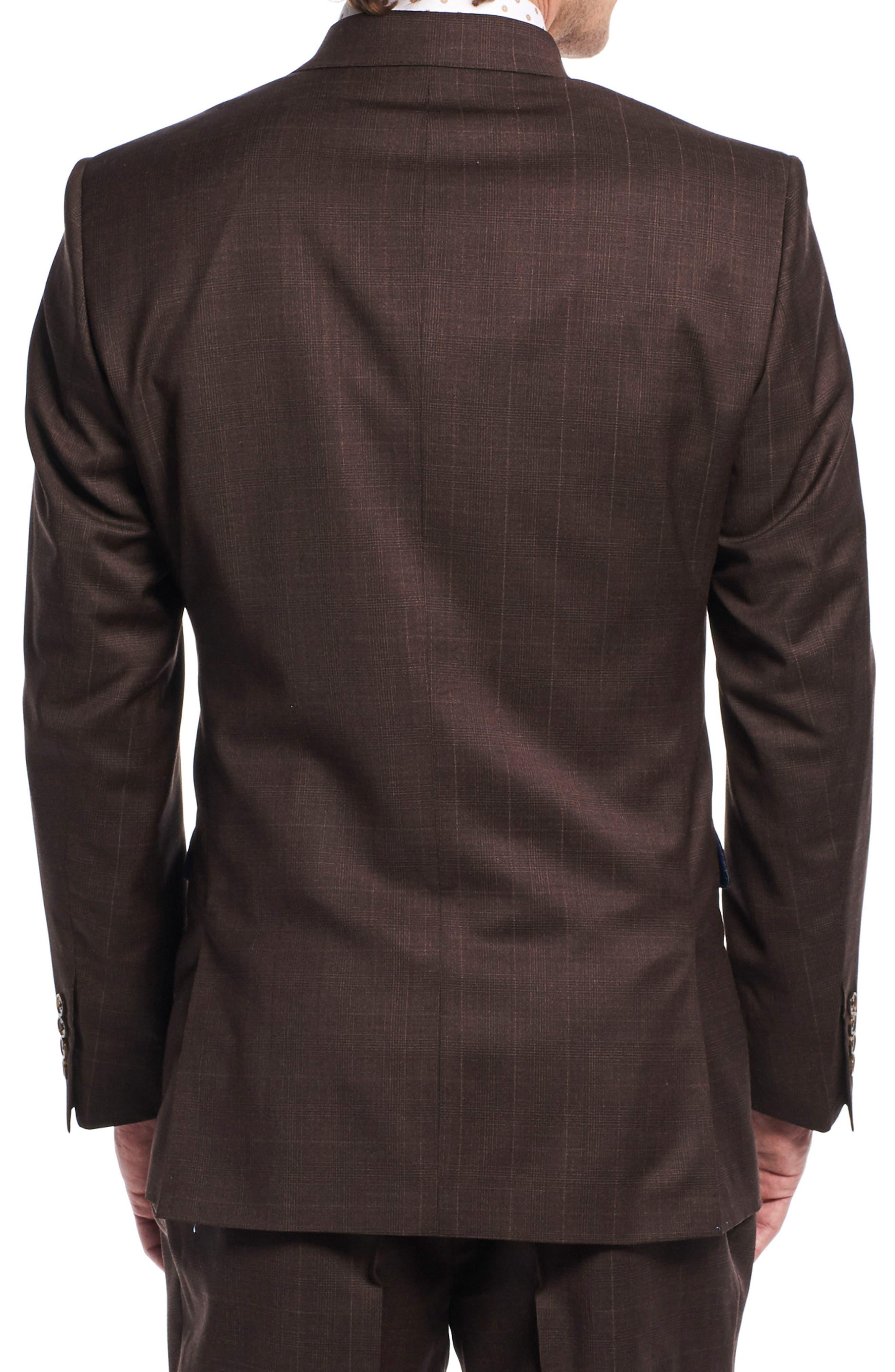 by Ilaria Urbinati Hank Slim Fit Three-Piece Plaid Wool Suit,                             Alternate thumbnail 3, color,                             Brown Plaid