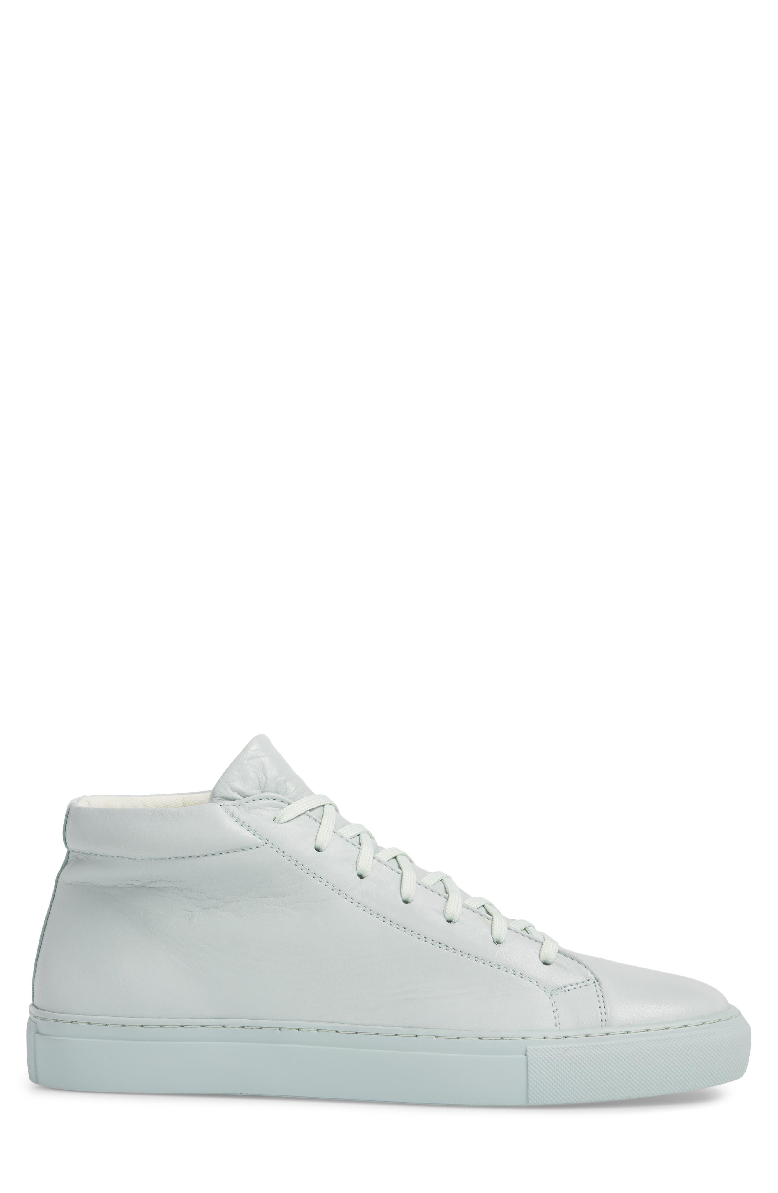 Lexington Mid Top Sneaker,                             Alternate thumbnail 3, color,                             Mint Green Leather