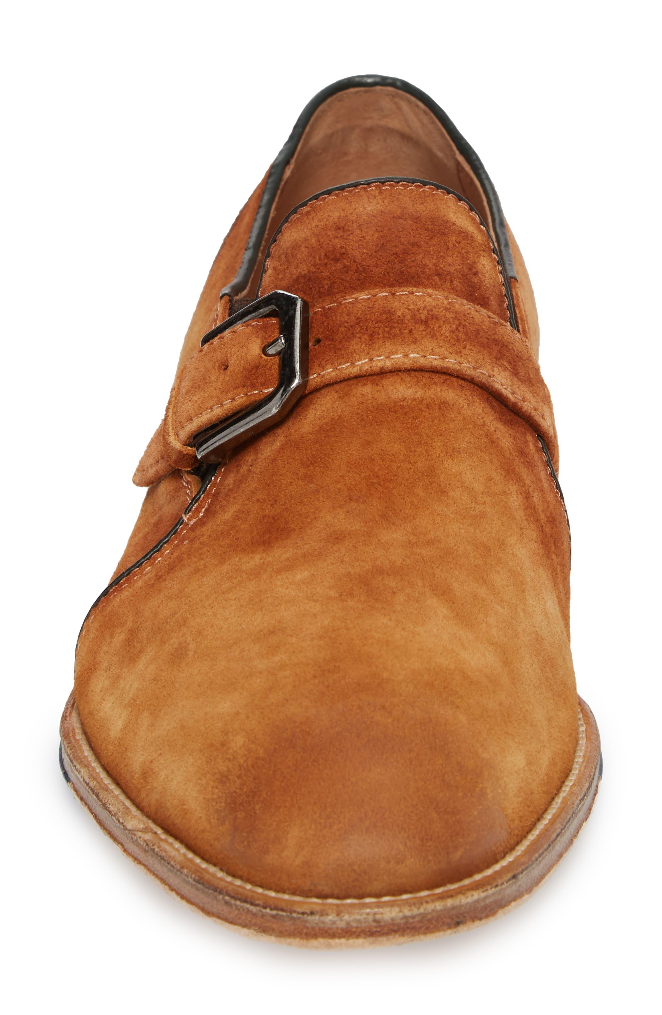 Alex Single Buckle Monk Shoe,                             Alternate thumbnail 4, color,                             Tan Wash Suede
