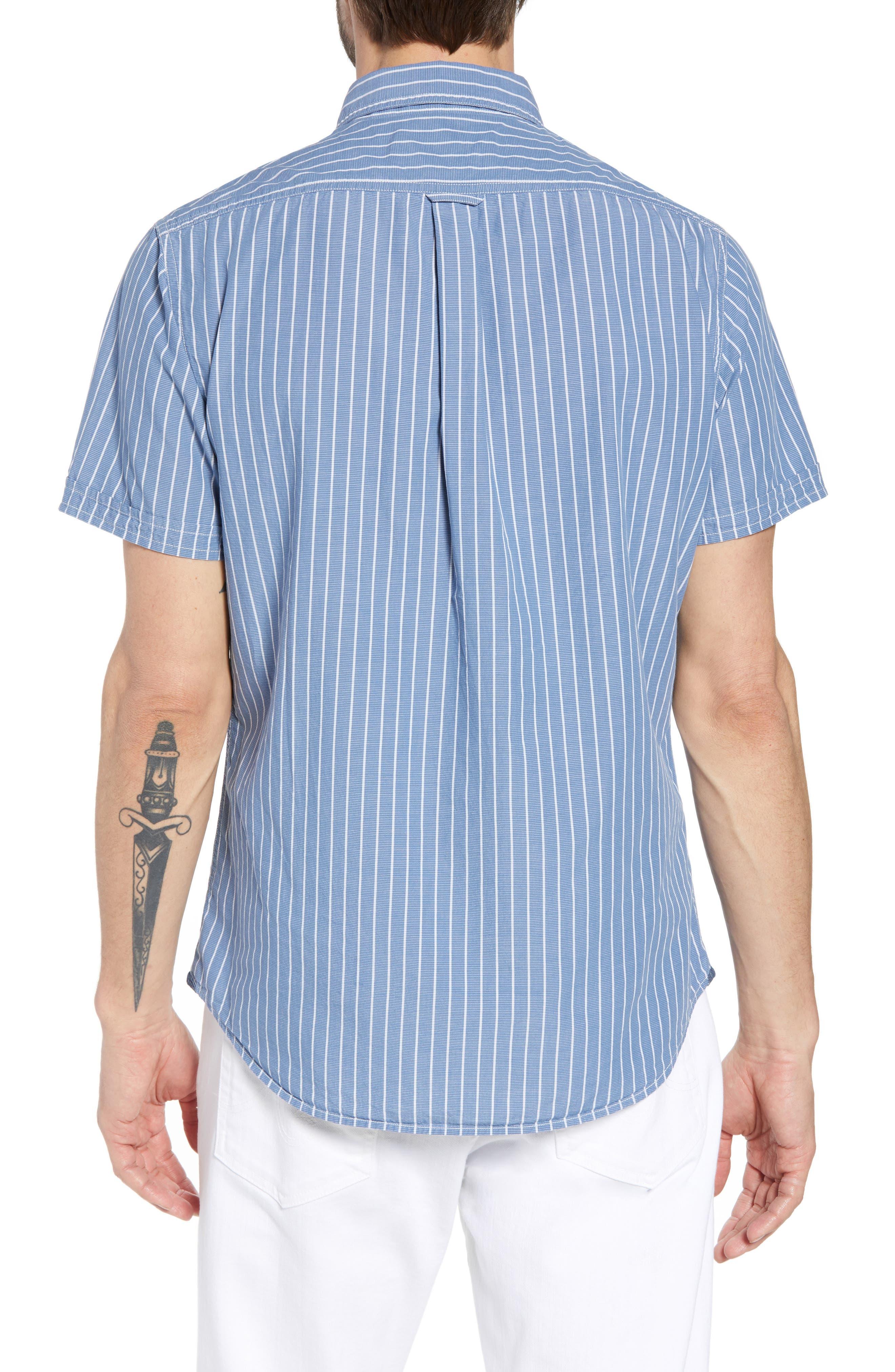 Larkin Stripe Sport Shirt,                             Alternate thumbnail 3, color,                             Blue Cream Stripe