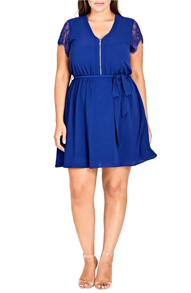 Trendy Plus Size Lace-Sleeve Tunic Dress, Lapis