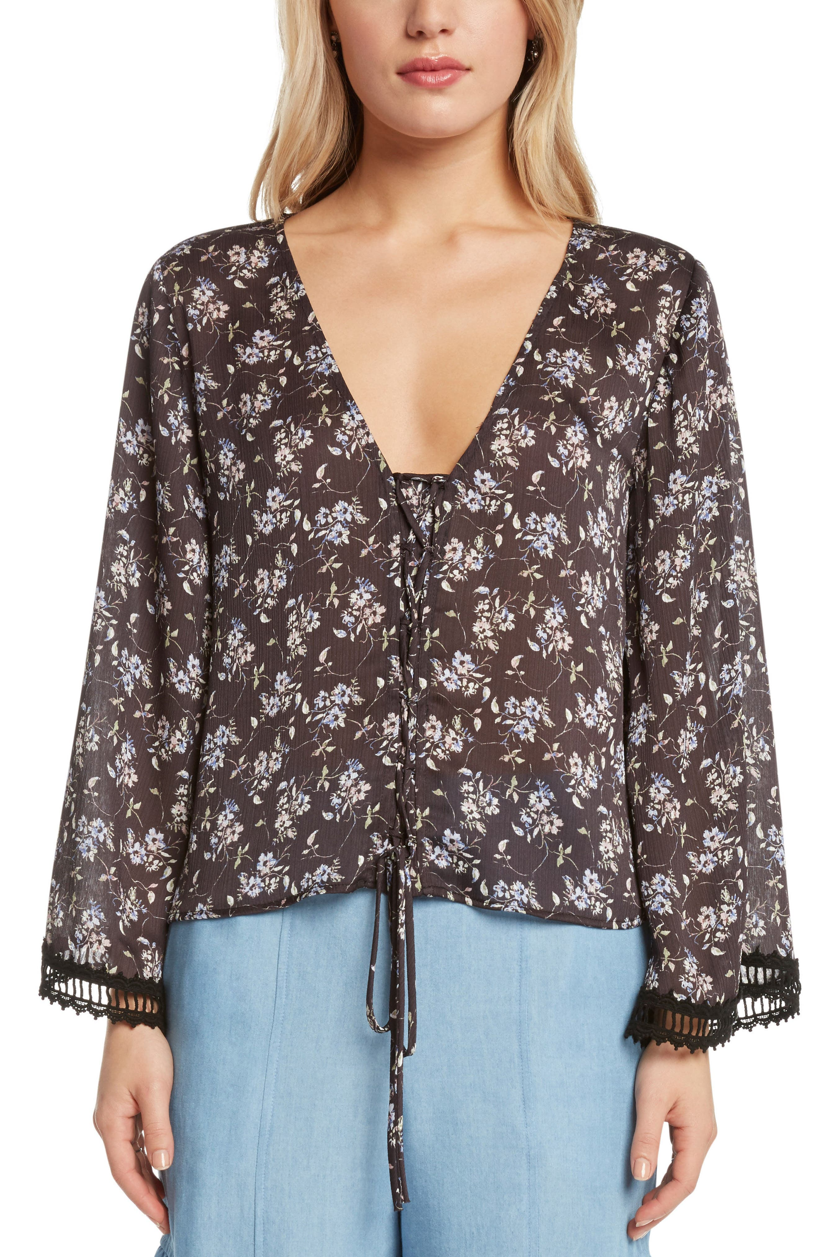 Lace-Up Floral Top,                             Main thumbnail 1, color,                             Black