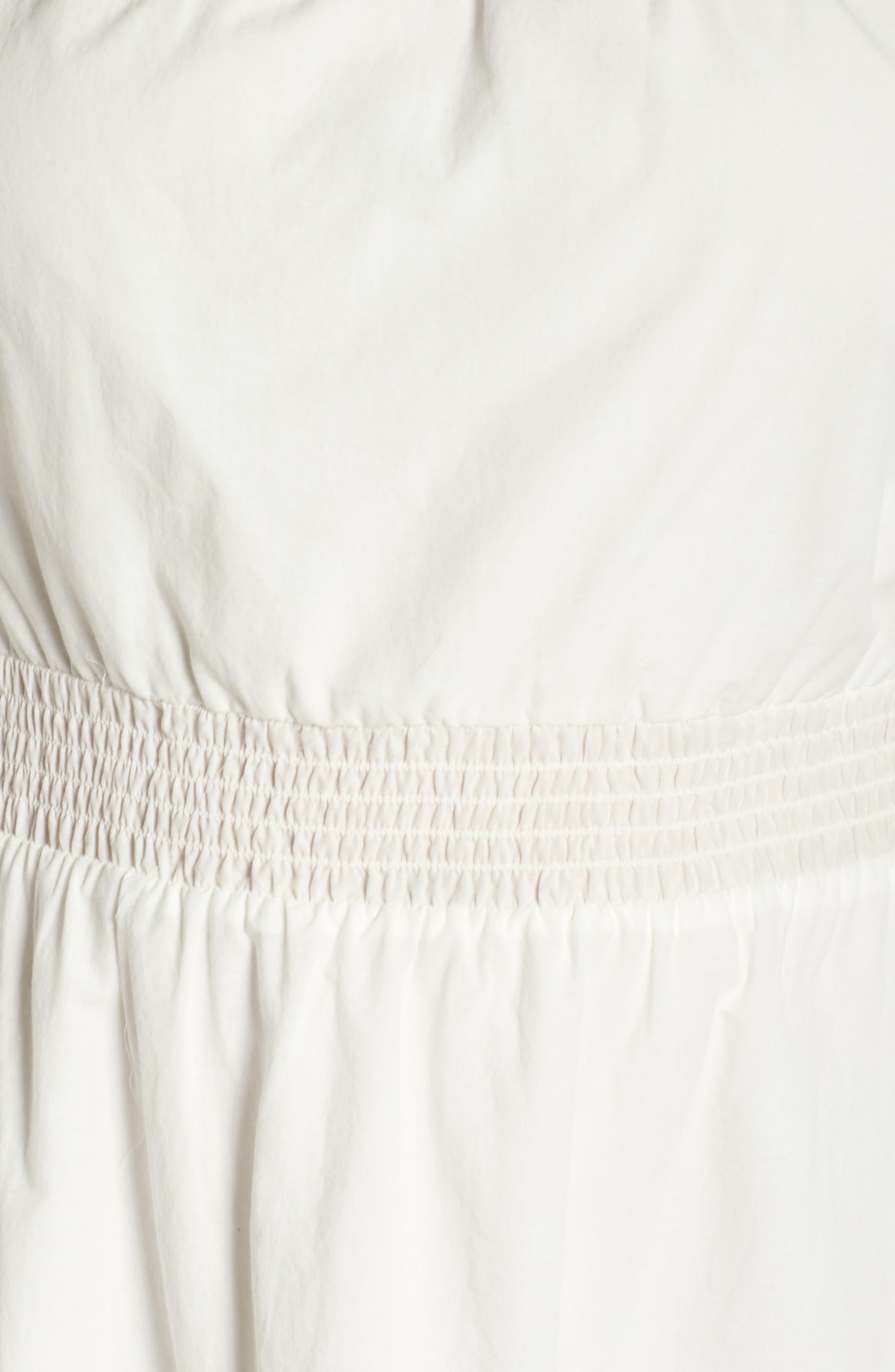 Off the Shoulder Peasant Dress,                             Alternate thumbnail 5, color,                             White Snow