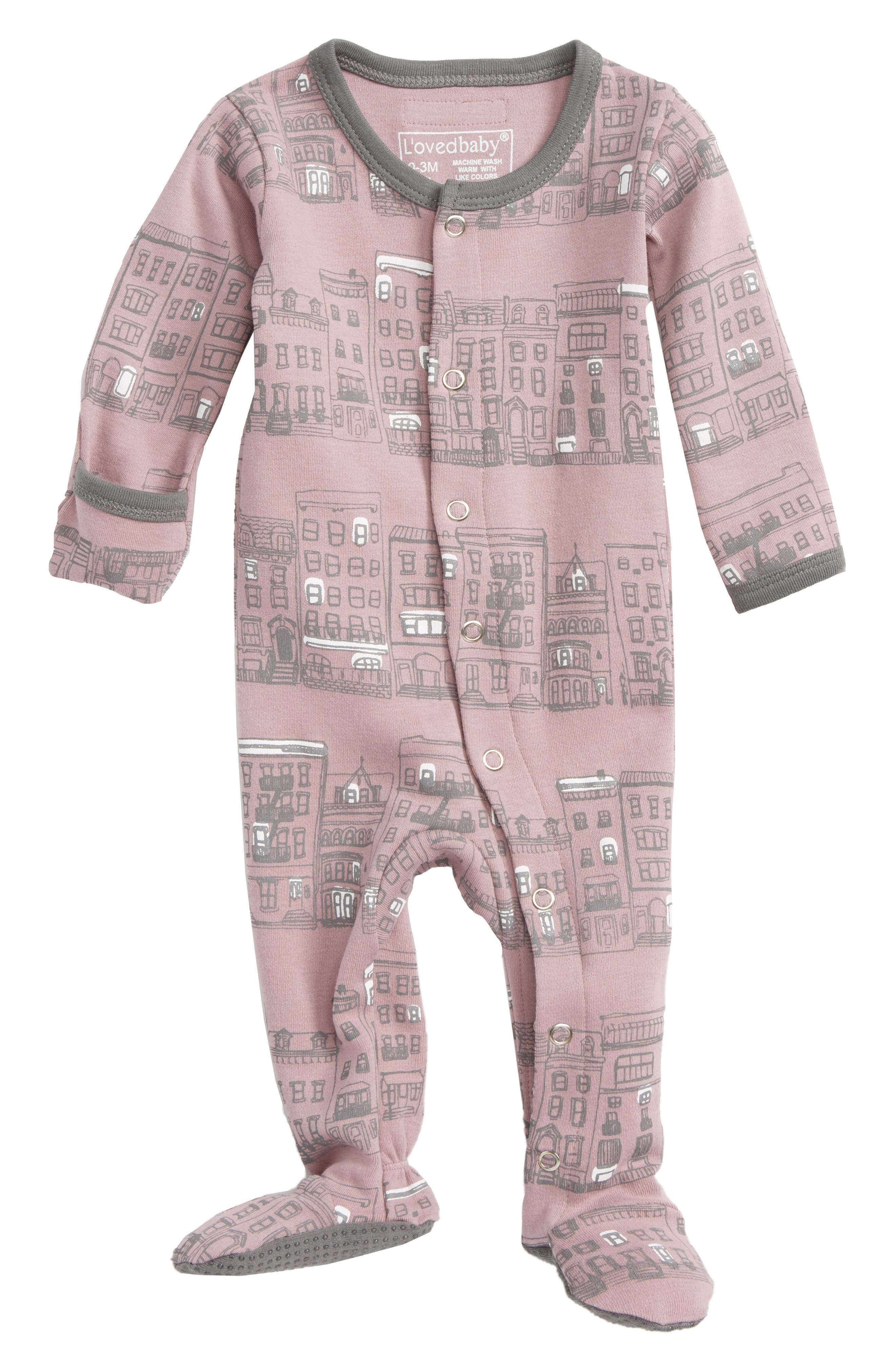 L'ovedbaby City Block Organic Cotton Footie (Baby Girls)