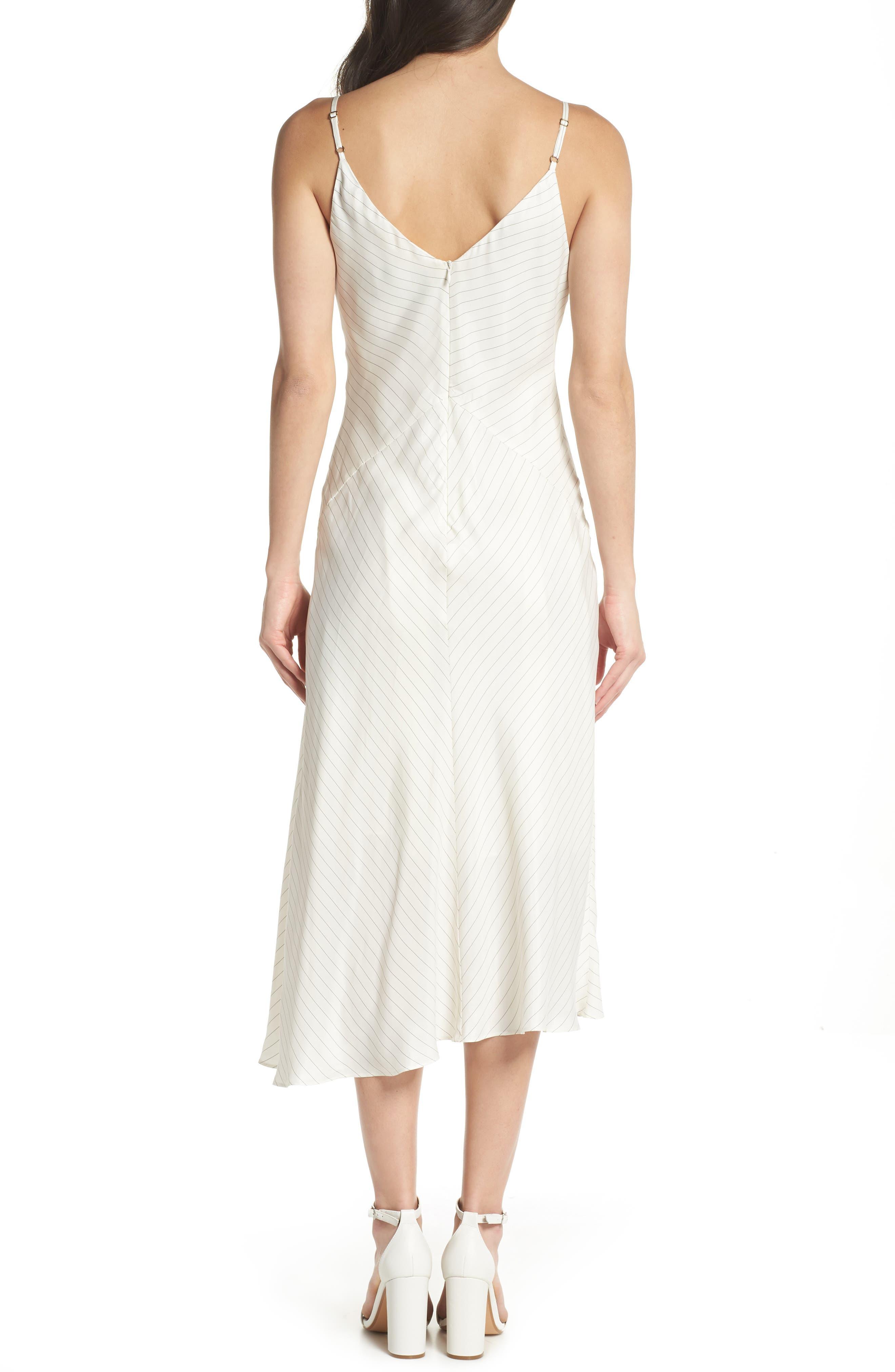 Bay Area Pinstripe Asymmetric Midi Dress,                             Alternate thumbnail 2, color,                             Cream