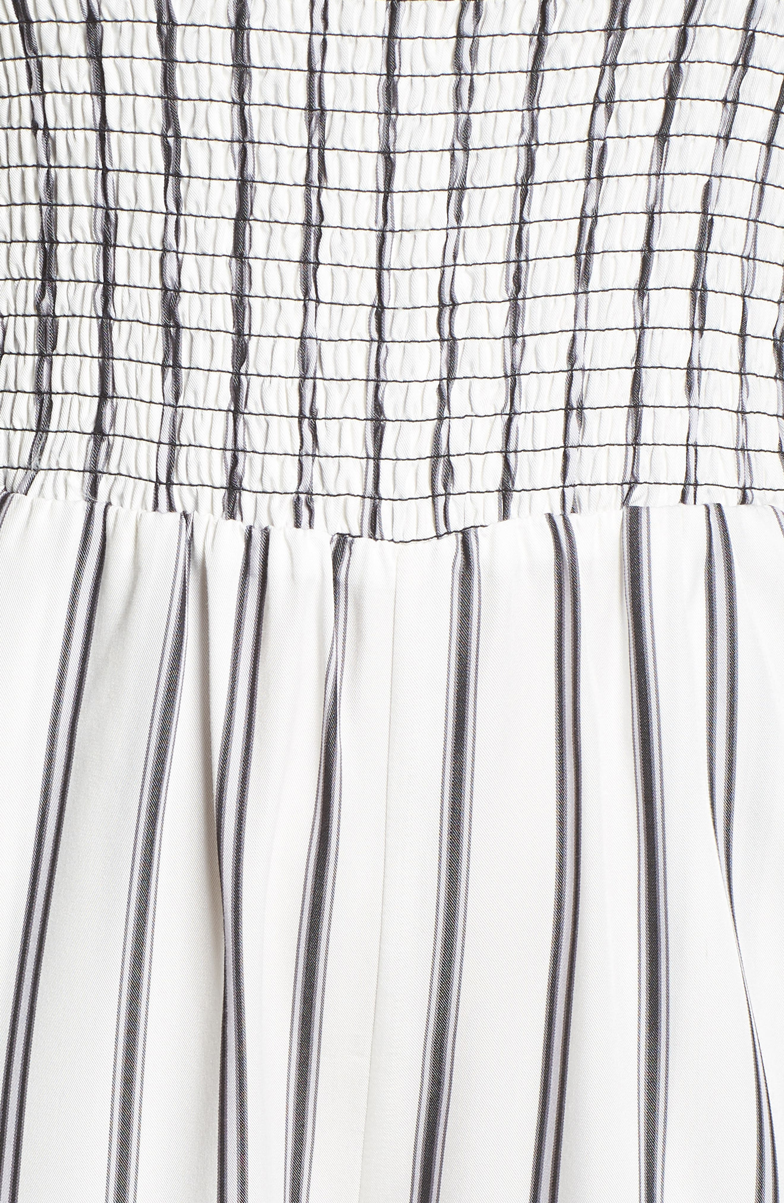 Get in the Grove Stripe Strapless Jumpsuit,                             Alternate thumbnail 6, color,                             Black/ White Uneven Stripe