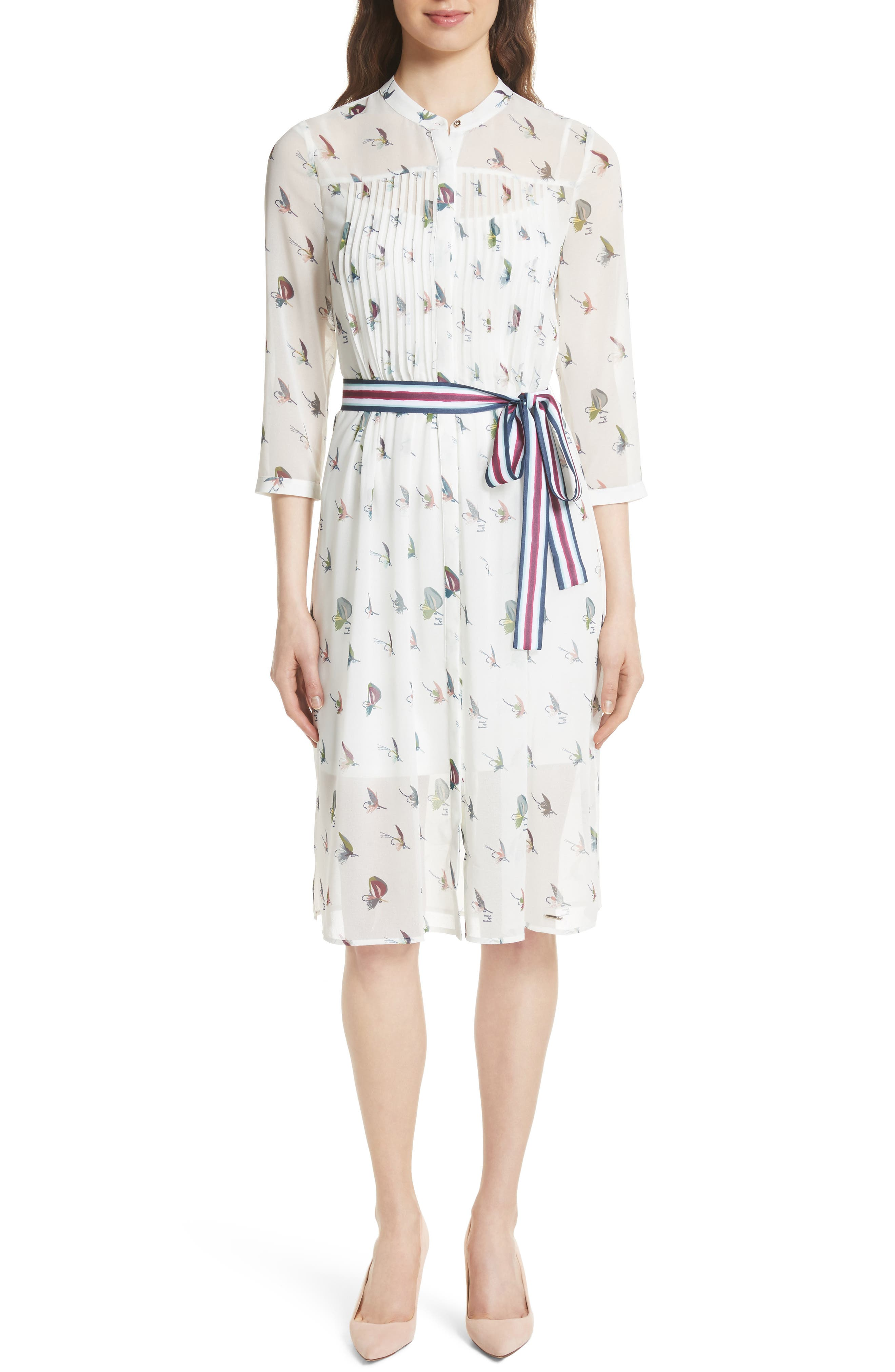 Colour by Numbers Zenaa Print Shirtdress,                             Main thumbnail 1, color,                             Ivory