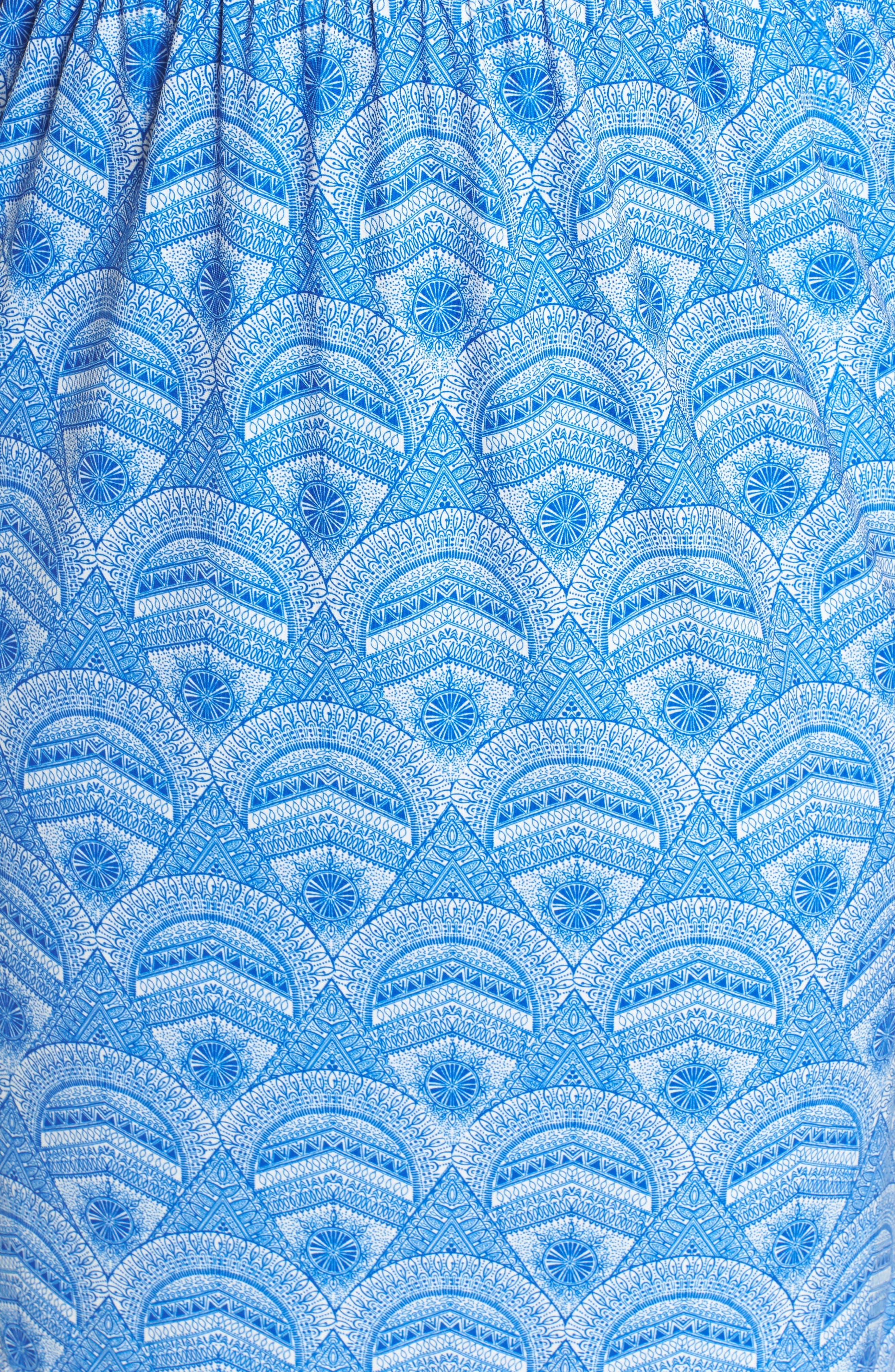 Rosine Print A-Line Dress,                             Alternate thumbnail 5, color,                             Lapis Blue
