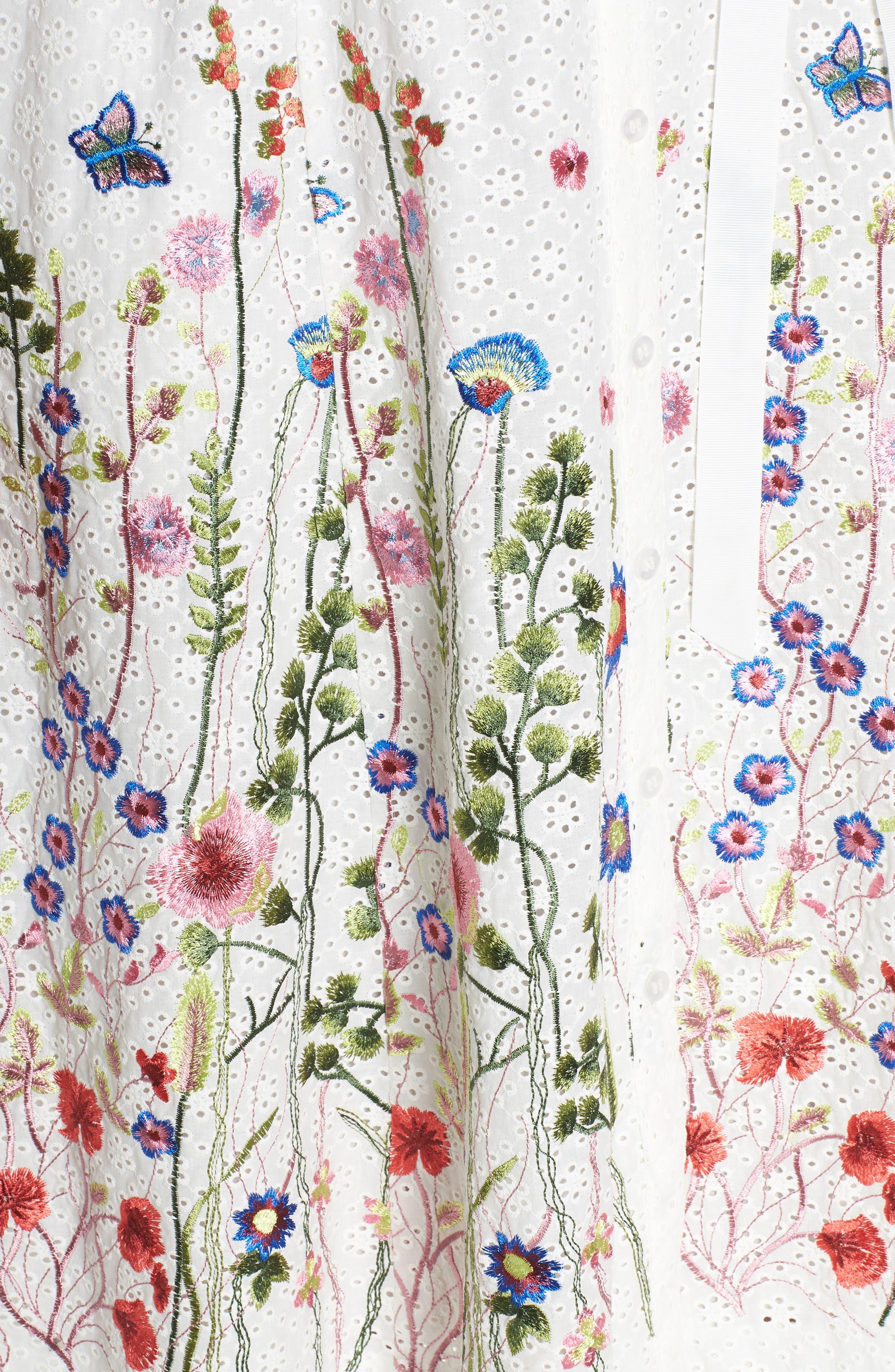 Floral Embroidered Eyelet Shirtdress,                             Alternate thumbnail 5, color,                             White/ Royal/ Green