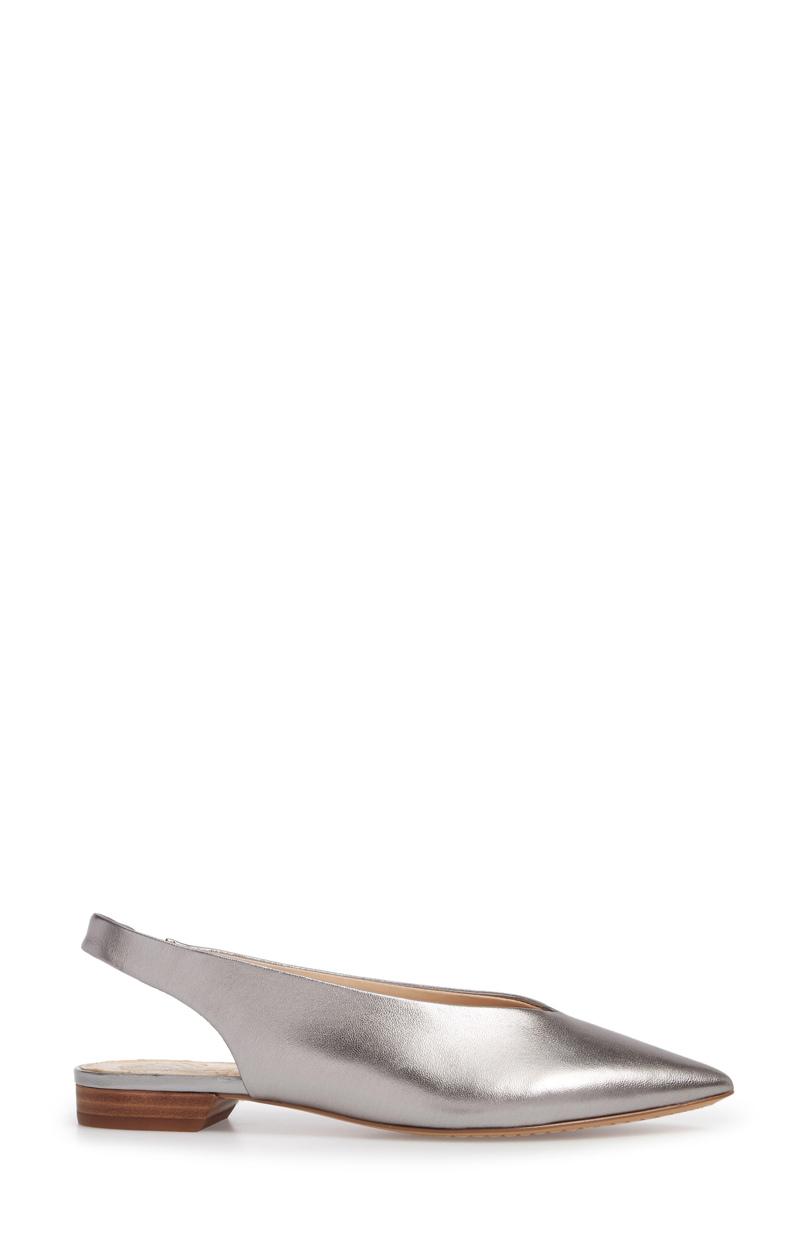 Matilda Slingback Flat,                             Alternate thumbnail 3, color,                             Radiant Silver Leather