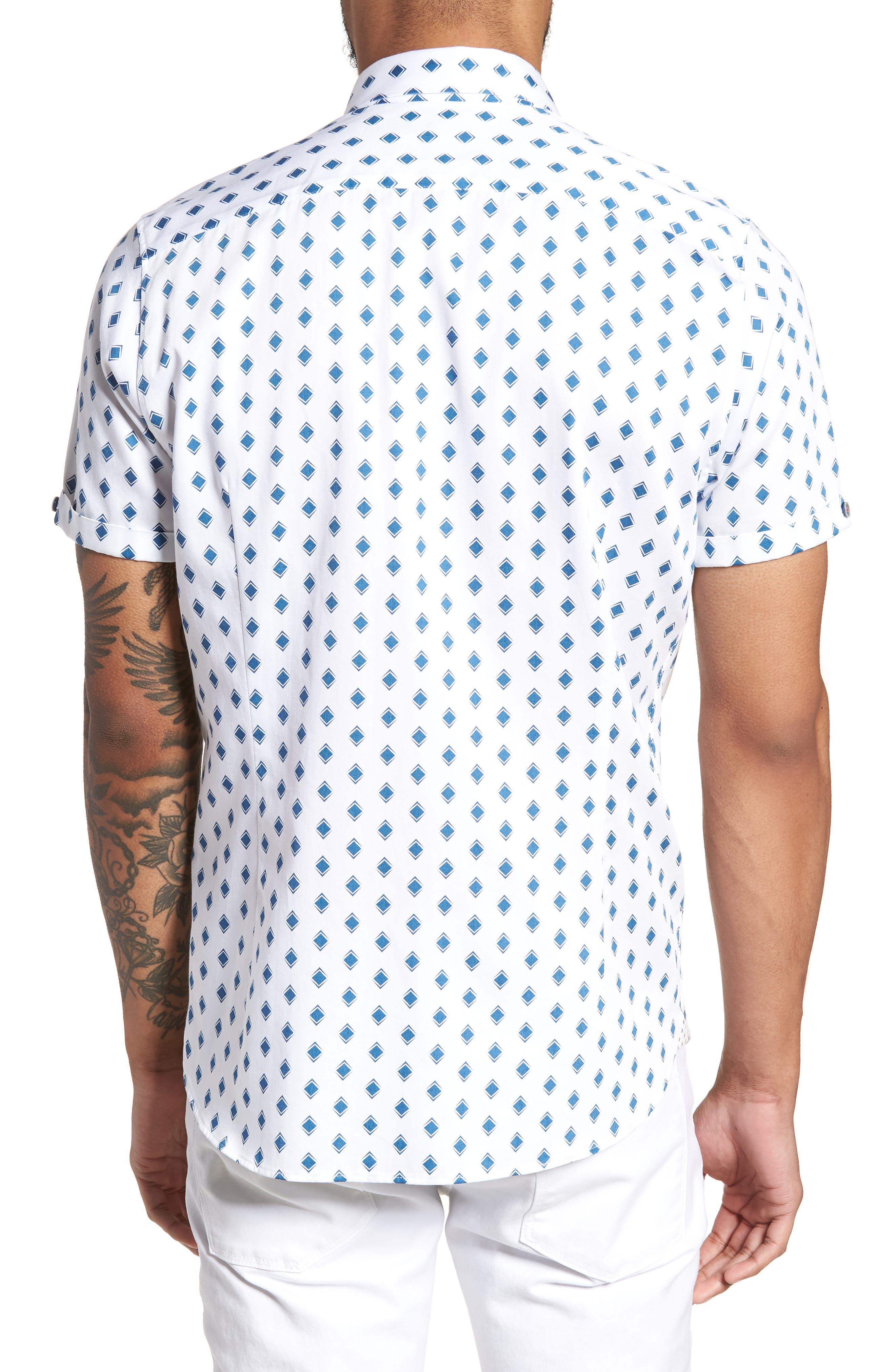 Sineral Trim Fit Short Sleeve Sport Shirt,                             Alternate thumbnail 3, color,                             White