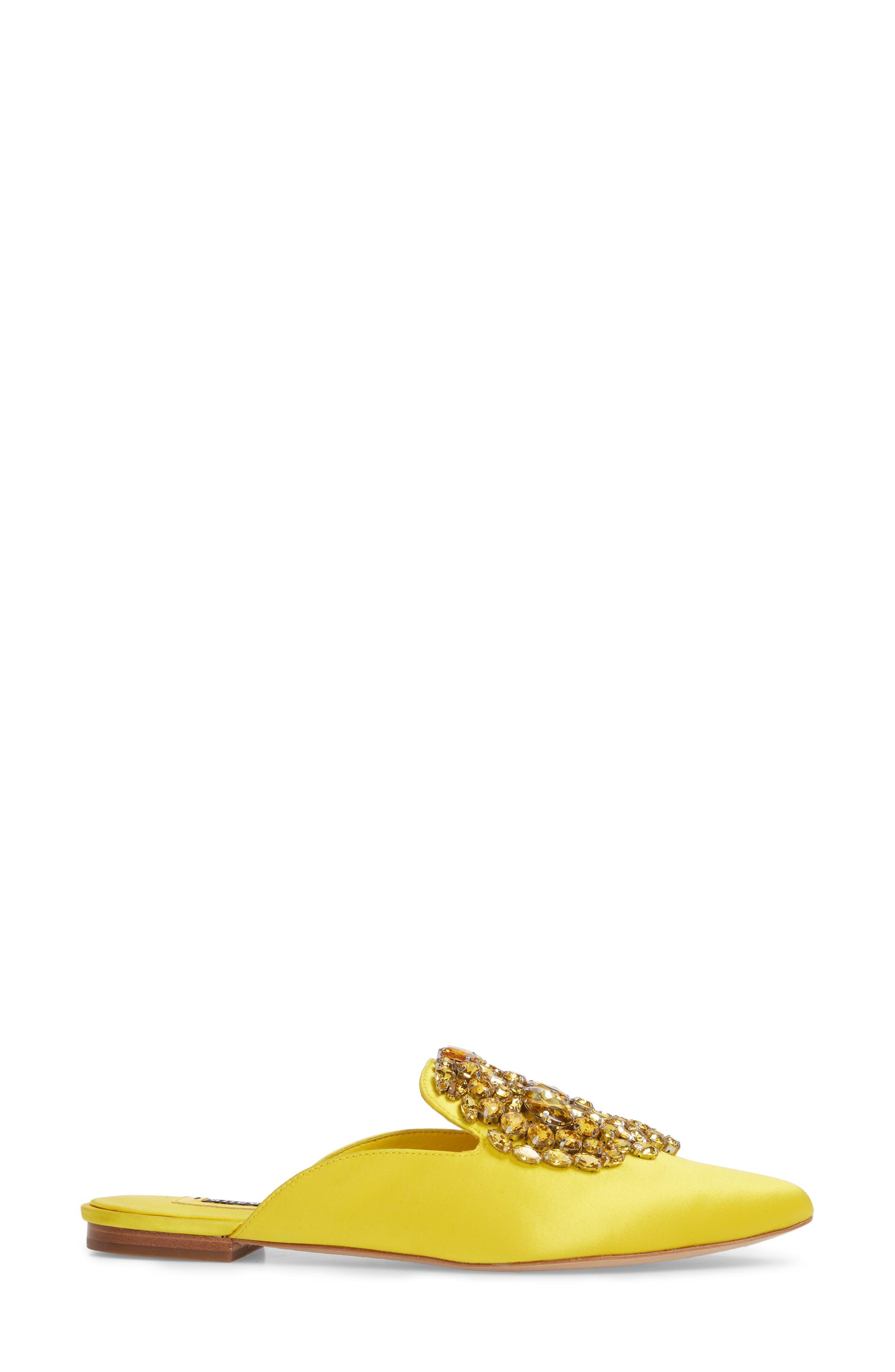 Lilly Crystal Embellished Loafer Mule,                             Alternate thumbnail 6, color,                             Dandelion