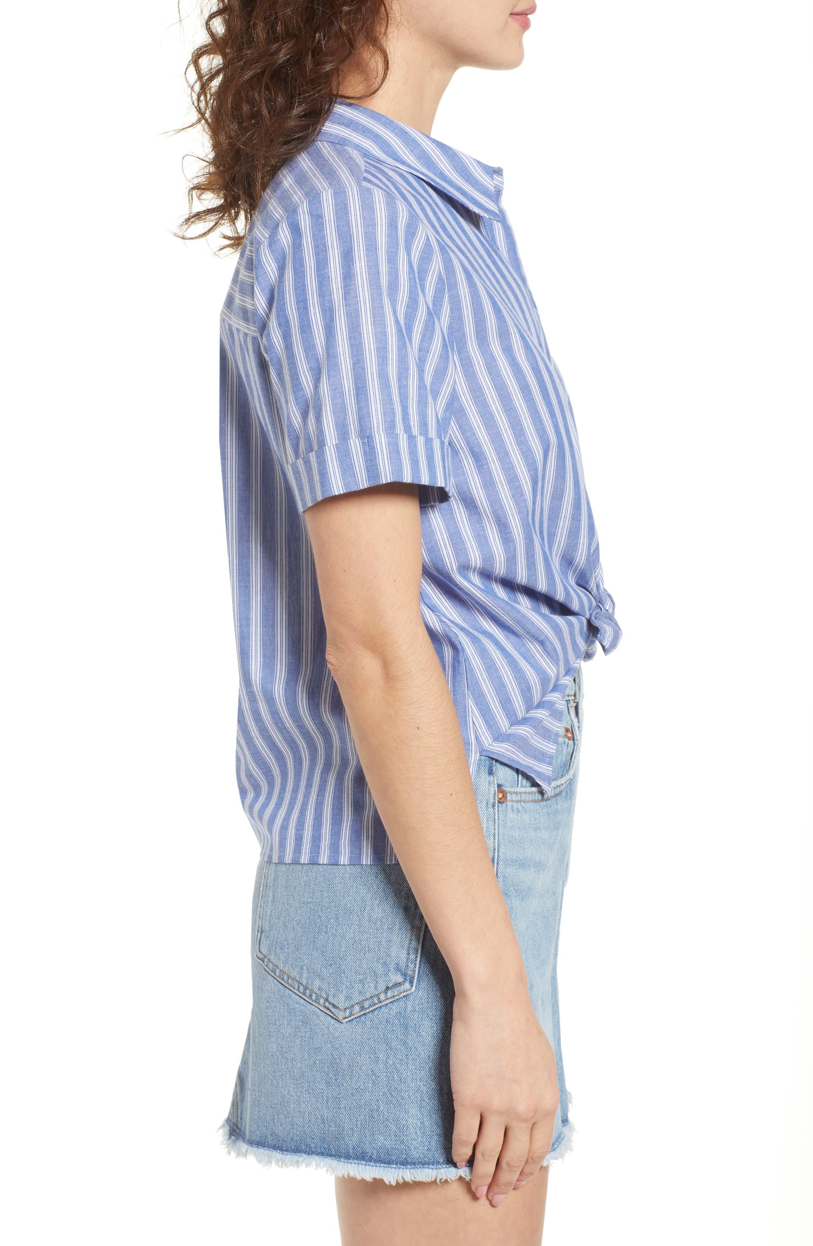 Stripe Tie Hem Top,                             Alternate thumbnail 3, color,                             Blue Celestial Stripe