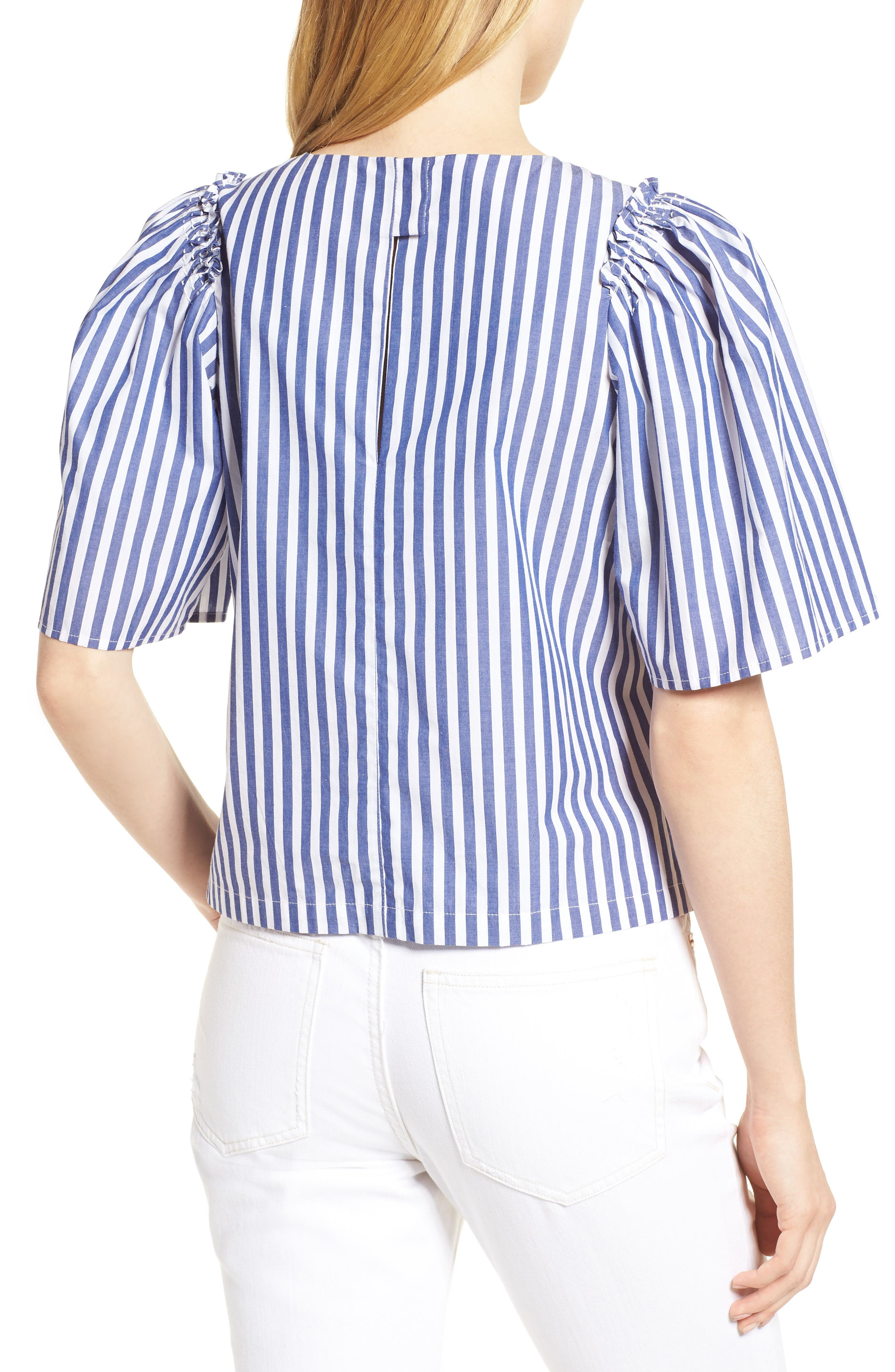 Valeria Stripe Stretch Cotton Top,                             Alternate thumbnail 2, color,                             Blue/ White