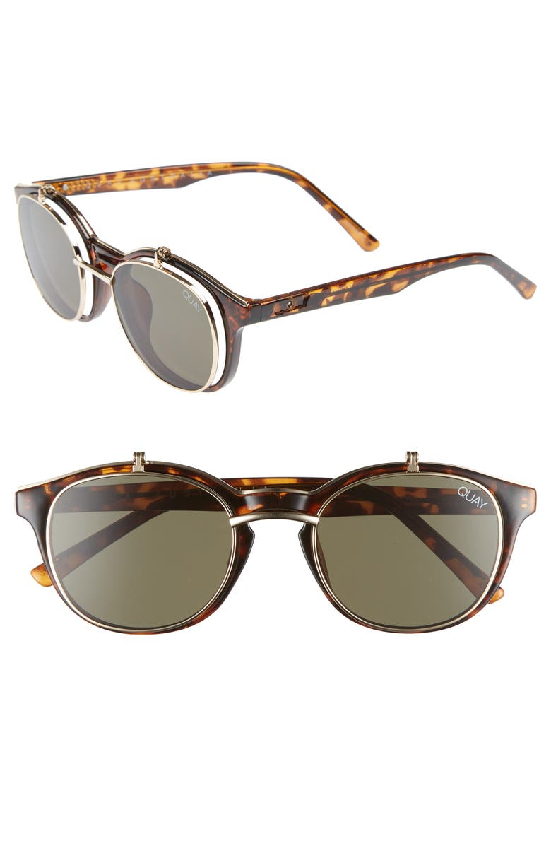 3f13e00b52 Quay Penny Royal 55Mm Flip-Up Round Sunglasses - Tort  Green In Brown
