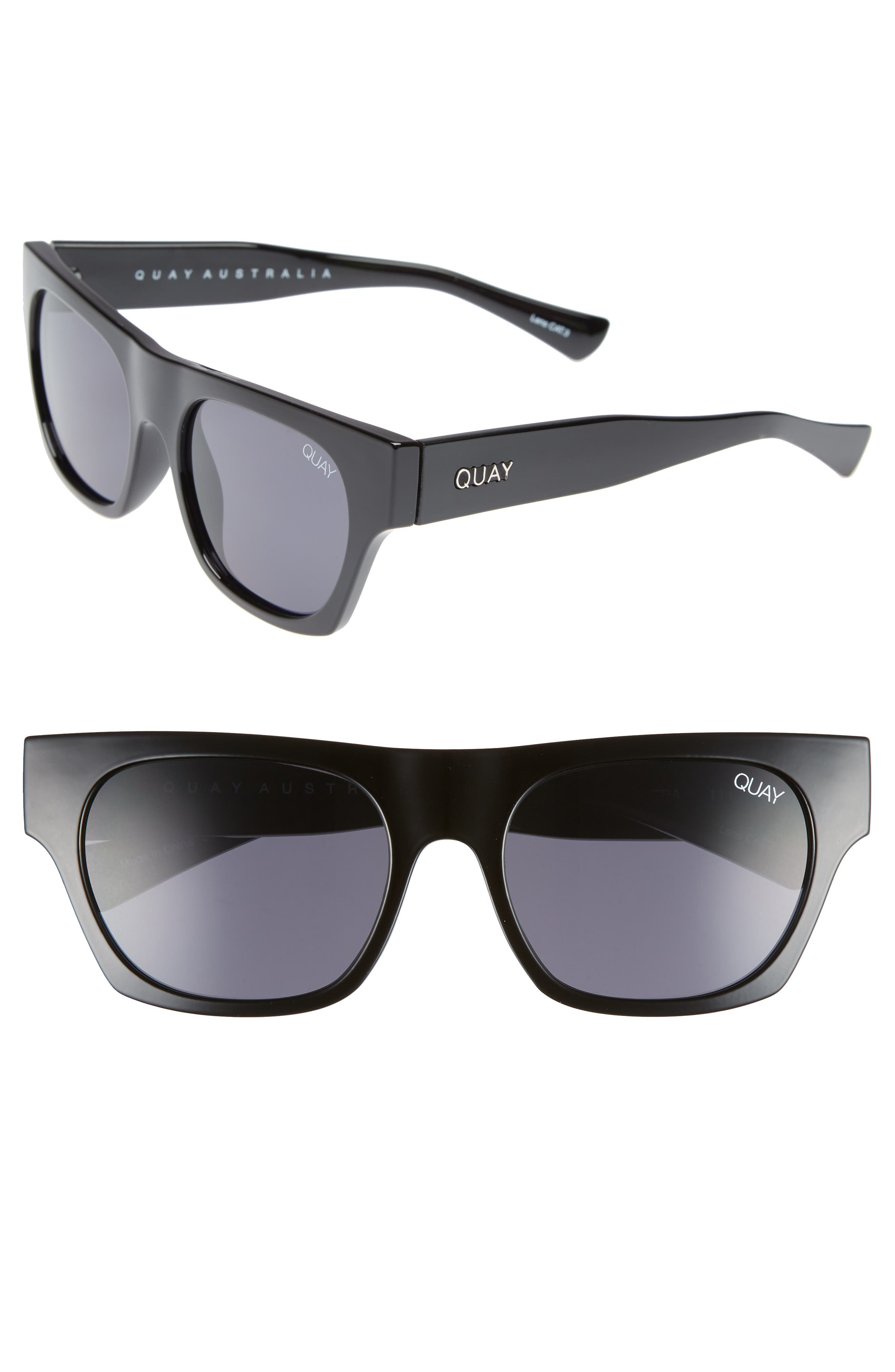 Something Extra 53mm Square Sunglasses,                         Main,                         color, Black/ Smoke