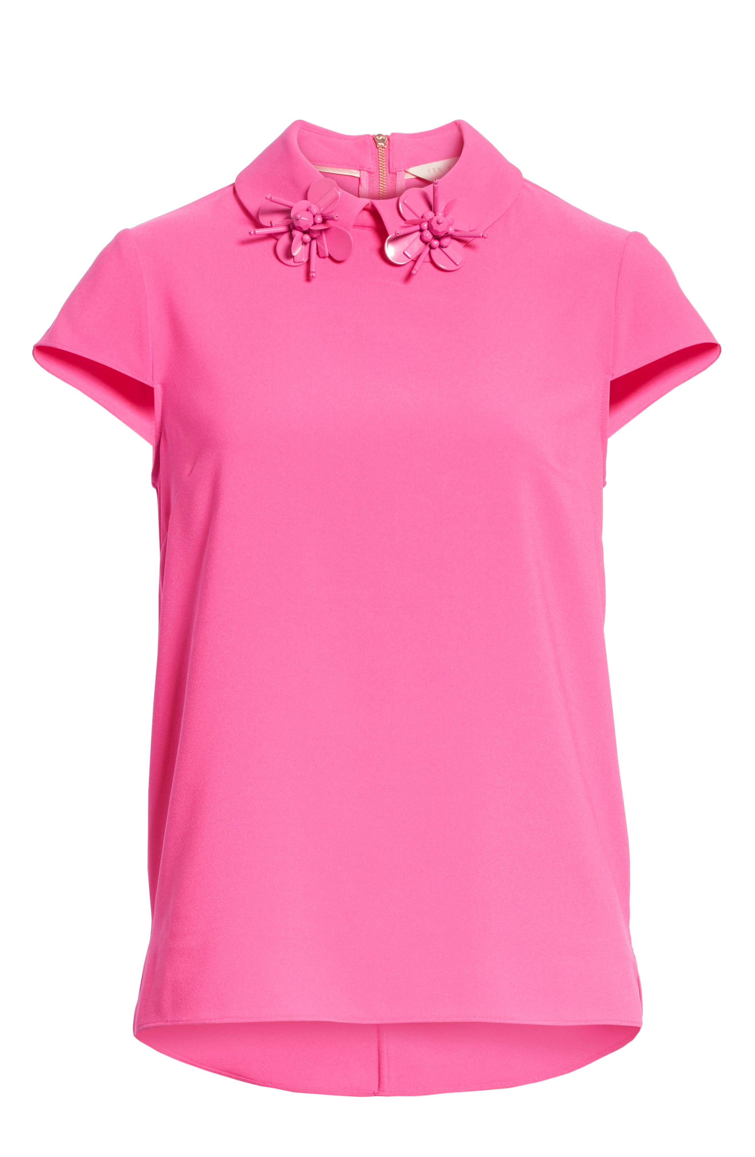 Ammah Embellished Collar Crepe Top,                             Alternate thumbnail 6, color,                             Neon Pink