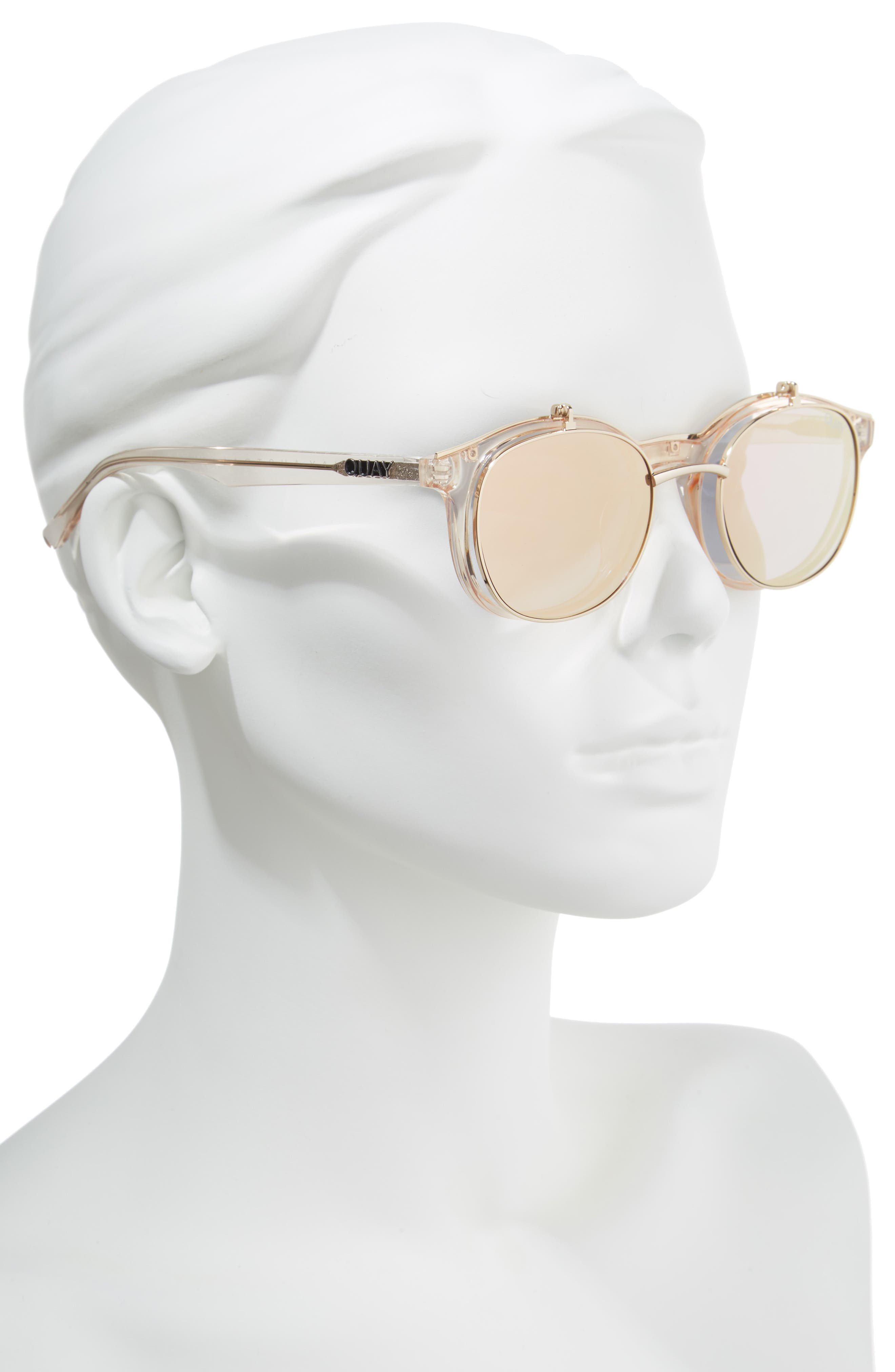 Penny Royal 55mm Flip-Up Round Sunglasses,                             Alternate thumbnail 2, color,                             Champagne/ Gold