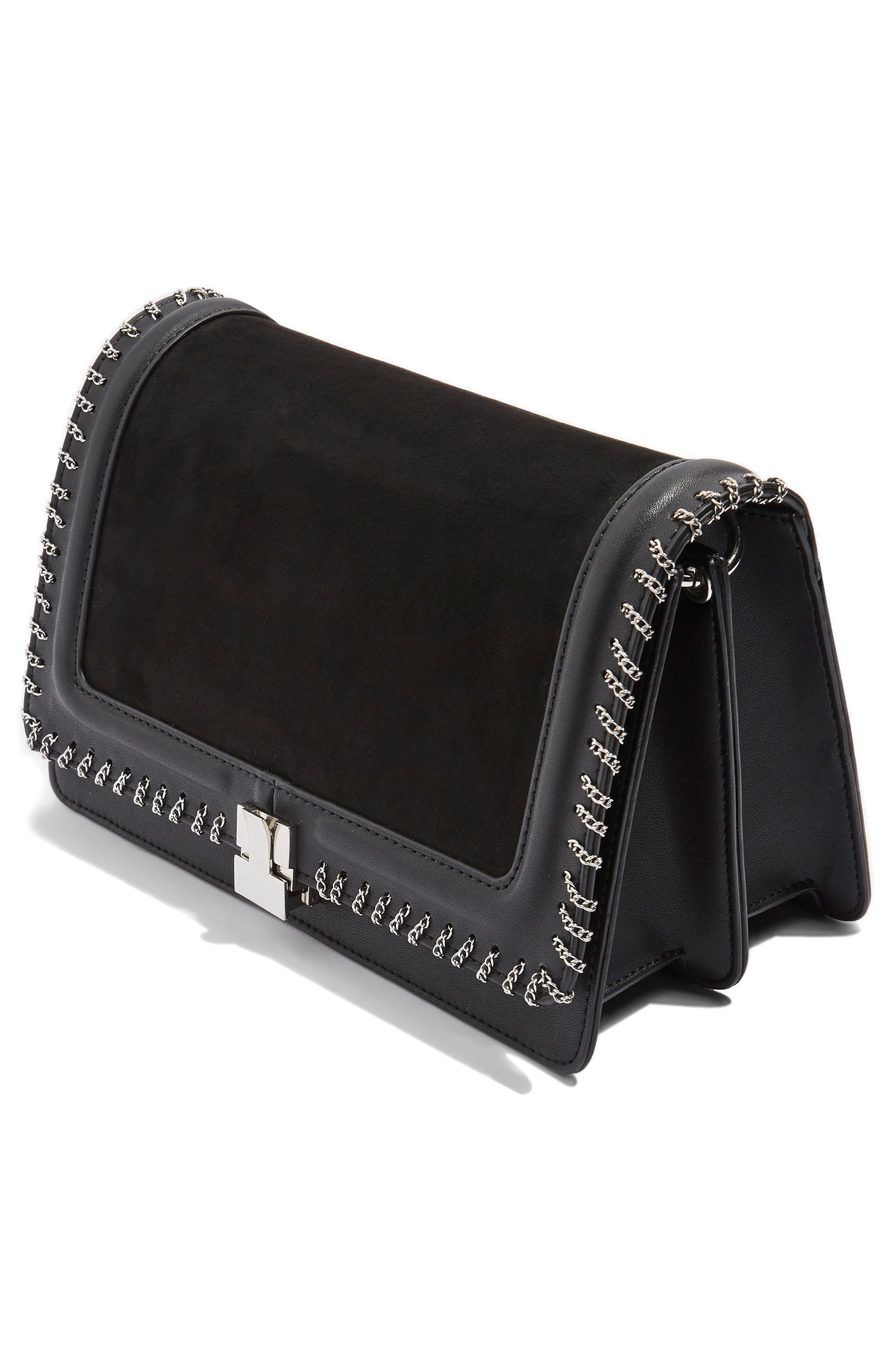Chain Flap Shoulder Bag,                             Alternate thumbnail 3, color,                             Black Multi