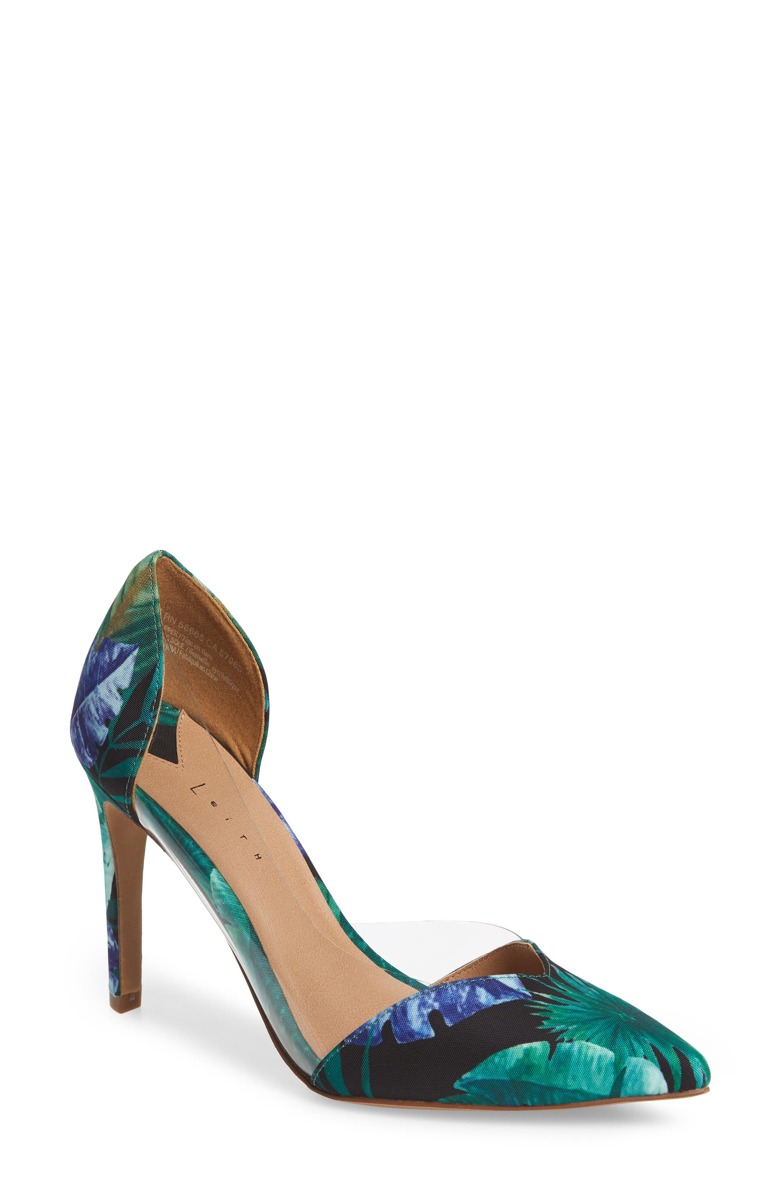 Parker Clear d'Orsay Pump,                         Main,                         color, Green Multi Fabric Print