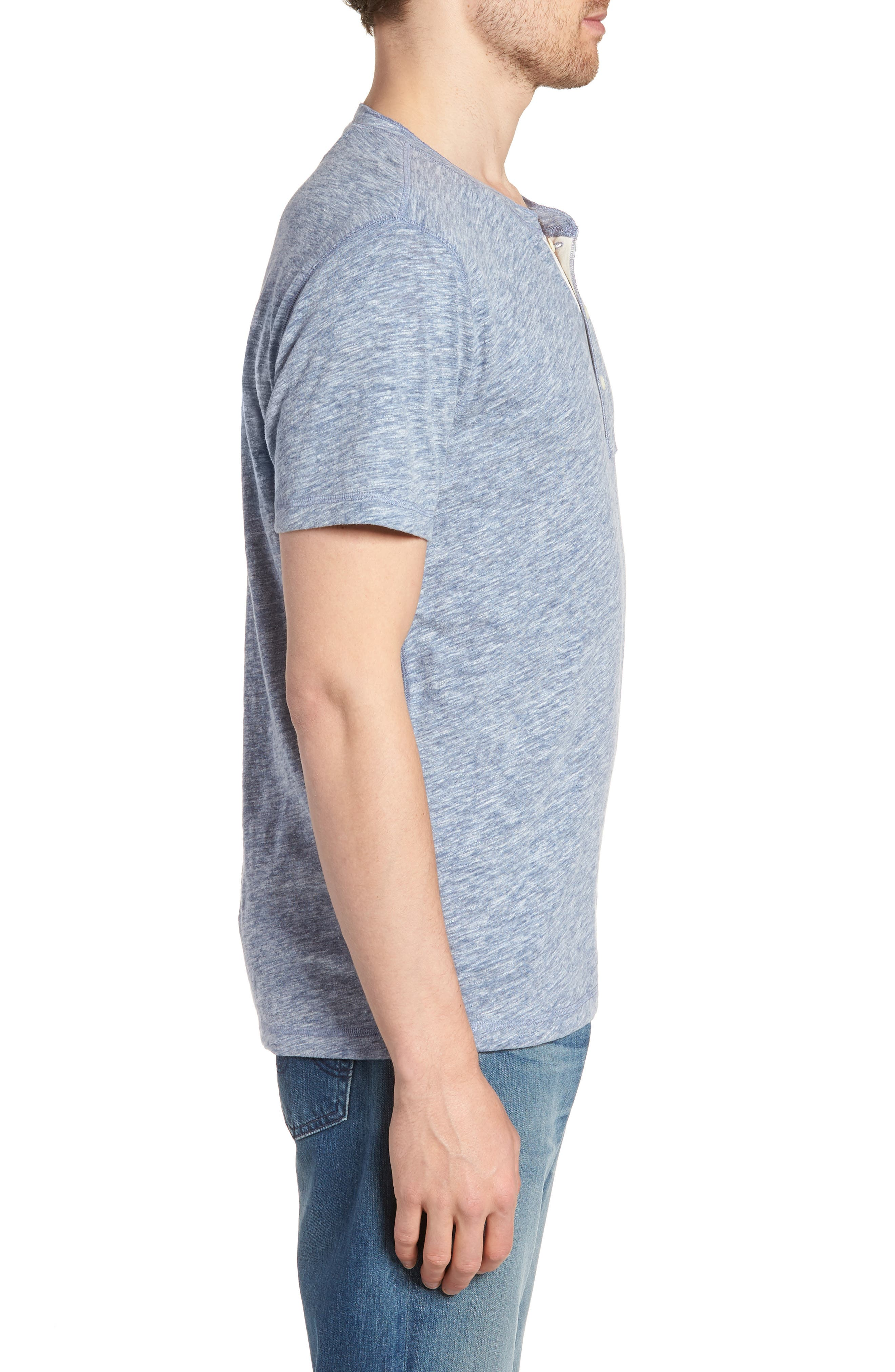 Short Sleeve Heathered Henley,                             Alternate thumbnail 3, color,                             Navy