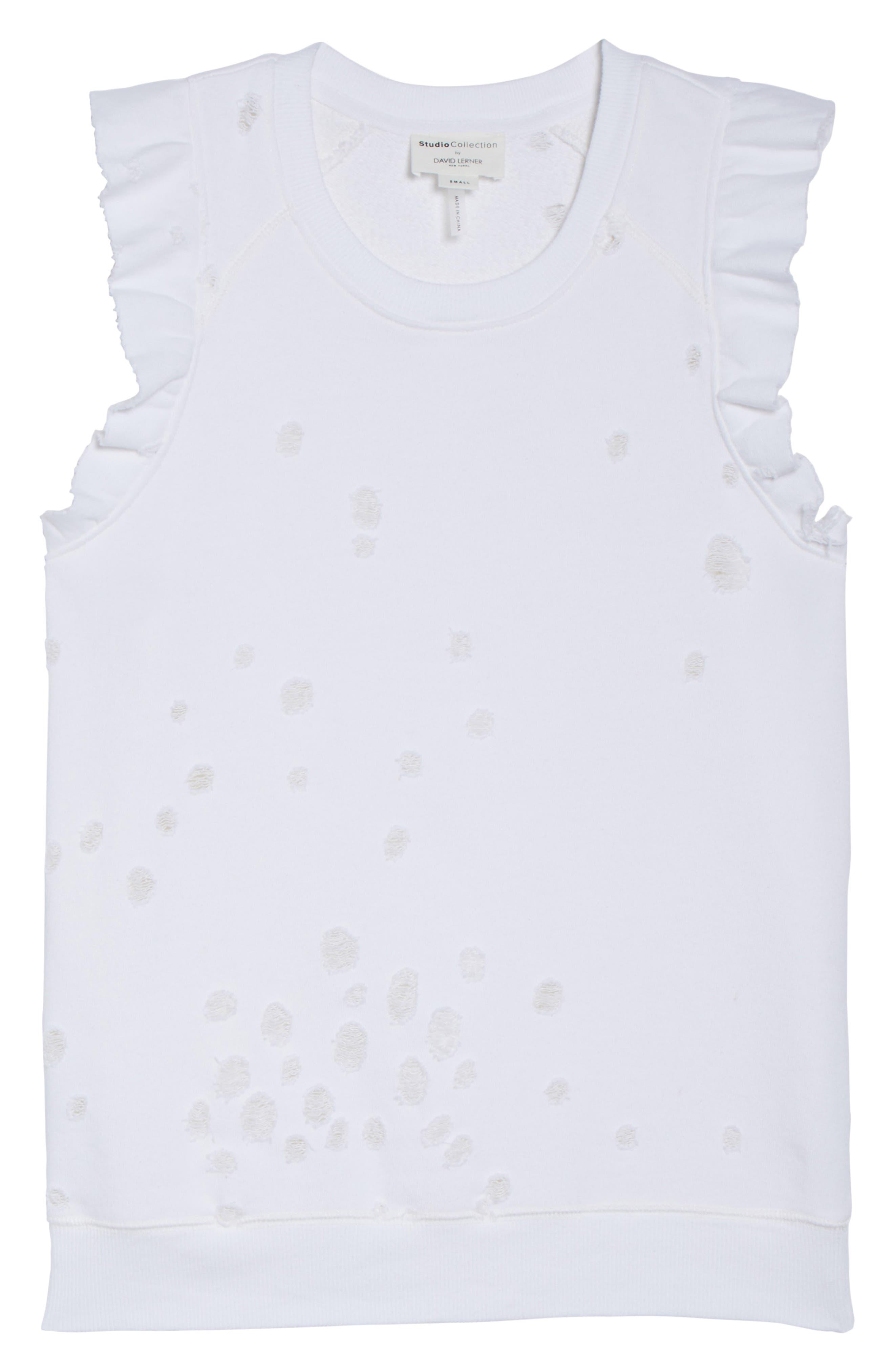 Ruffle Lounge Tank,                             Alternate thumbnail 4, color,                             White