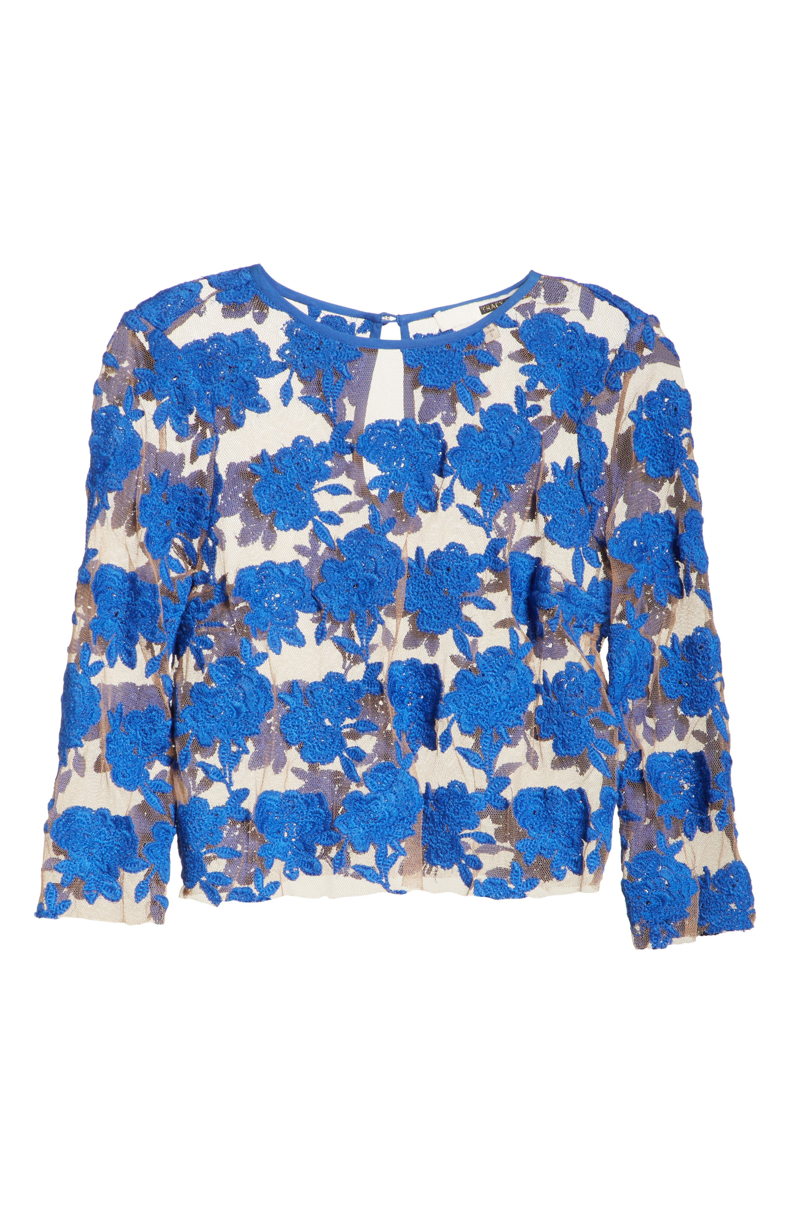 Sheer Embroidered Floral Top,                             Alternate thumbnail 6, color,                             Blue Pigment