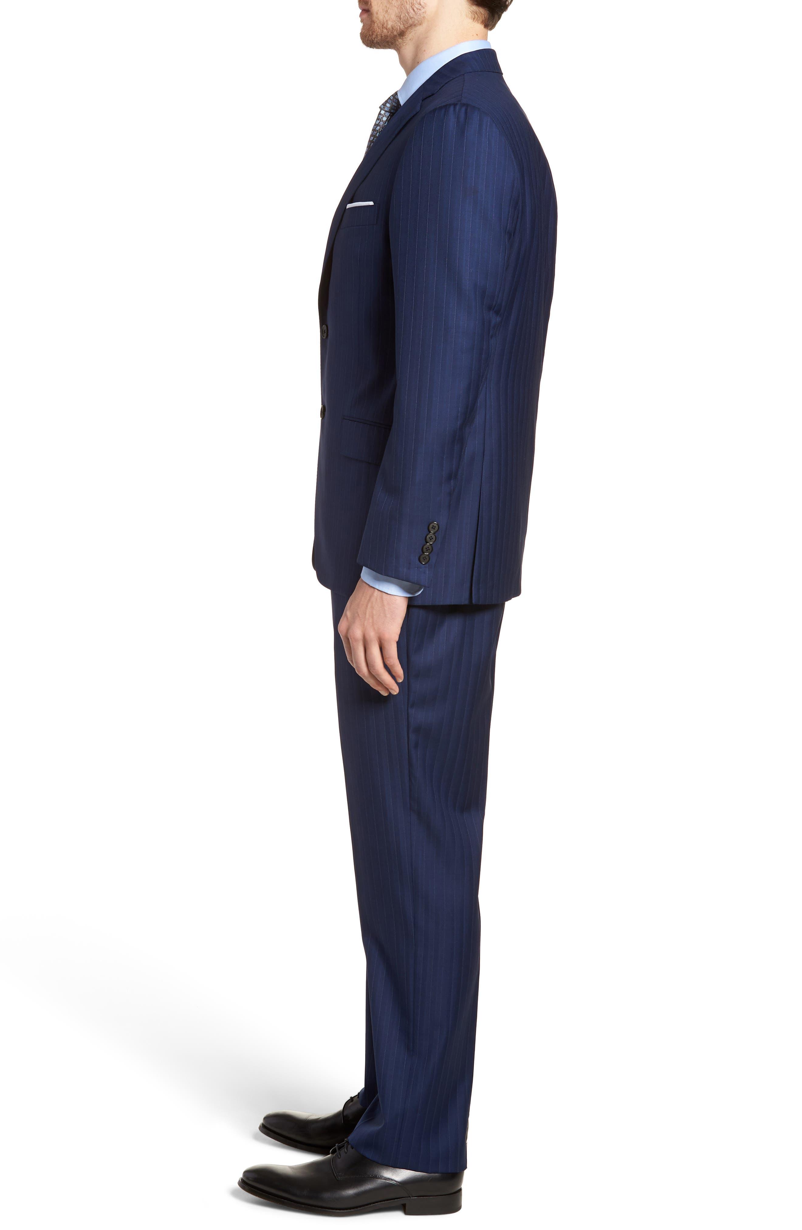 Classic B Fit Stripe Wool Suit,                             Alternate thumbnail 3, color,                             Navy Stripe