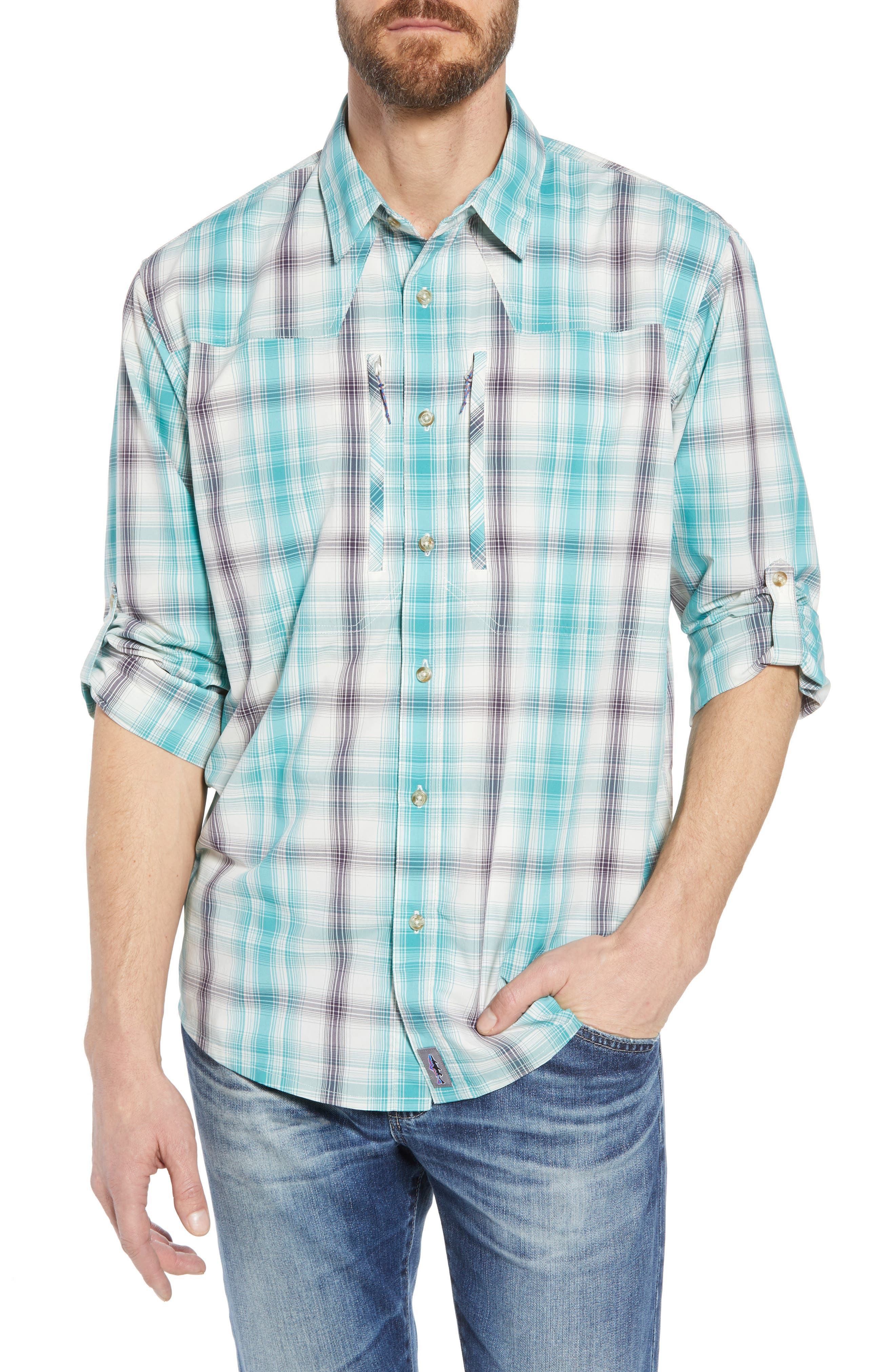 Regular Fit Plaid Sport Shirt,                         Main,                         color, King Swing/ Piton Purple