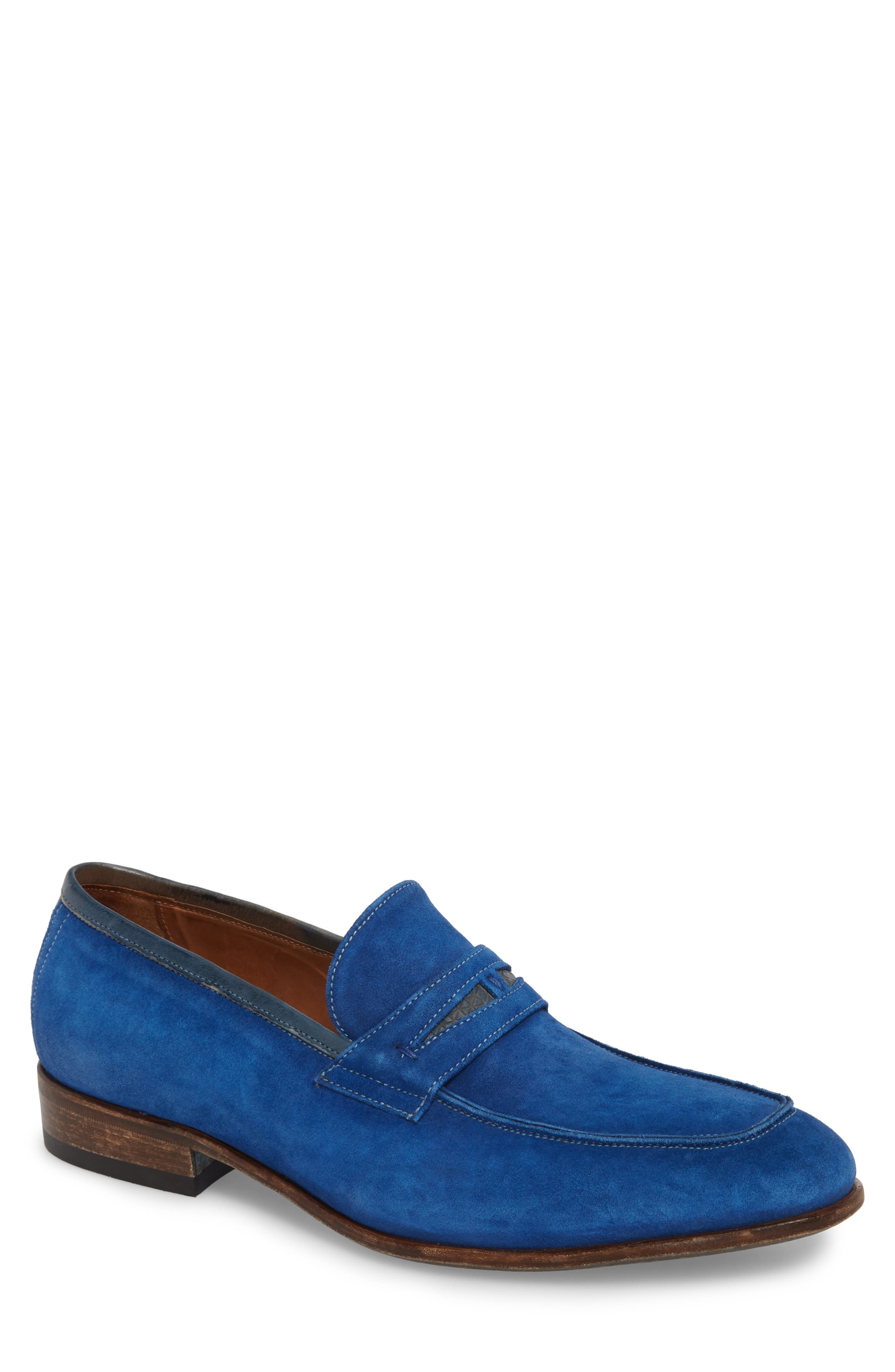 Lex Apron Toe Penny Loafer,                             Main thumbnail 1, color,                             Blue Suede