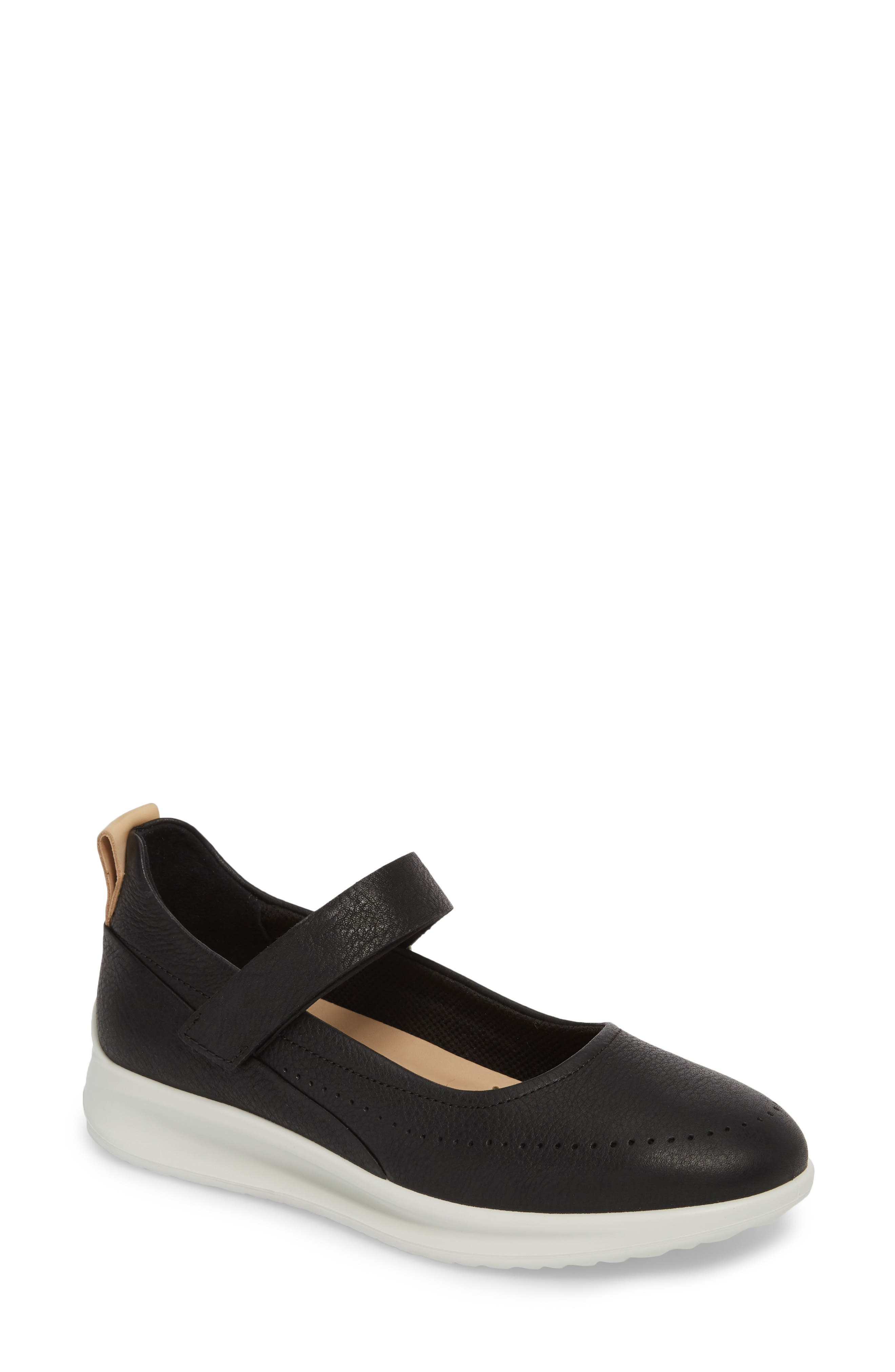 Aquet Mary Jane Wedge Sneaker,                             Main thumbnail 1, color,                             Black Leather