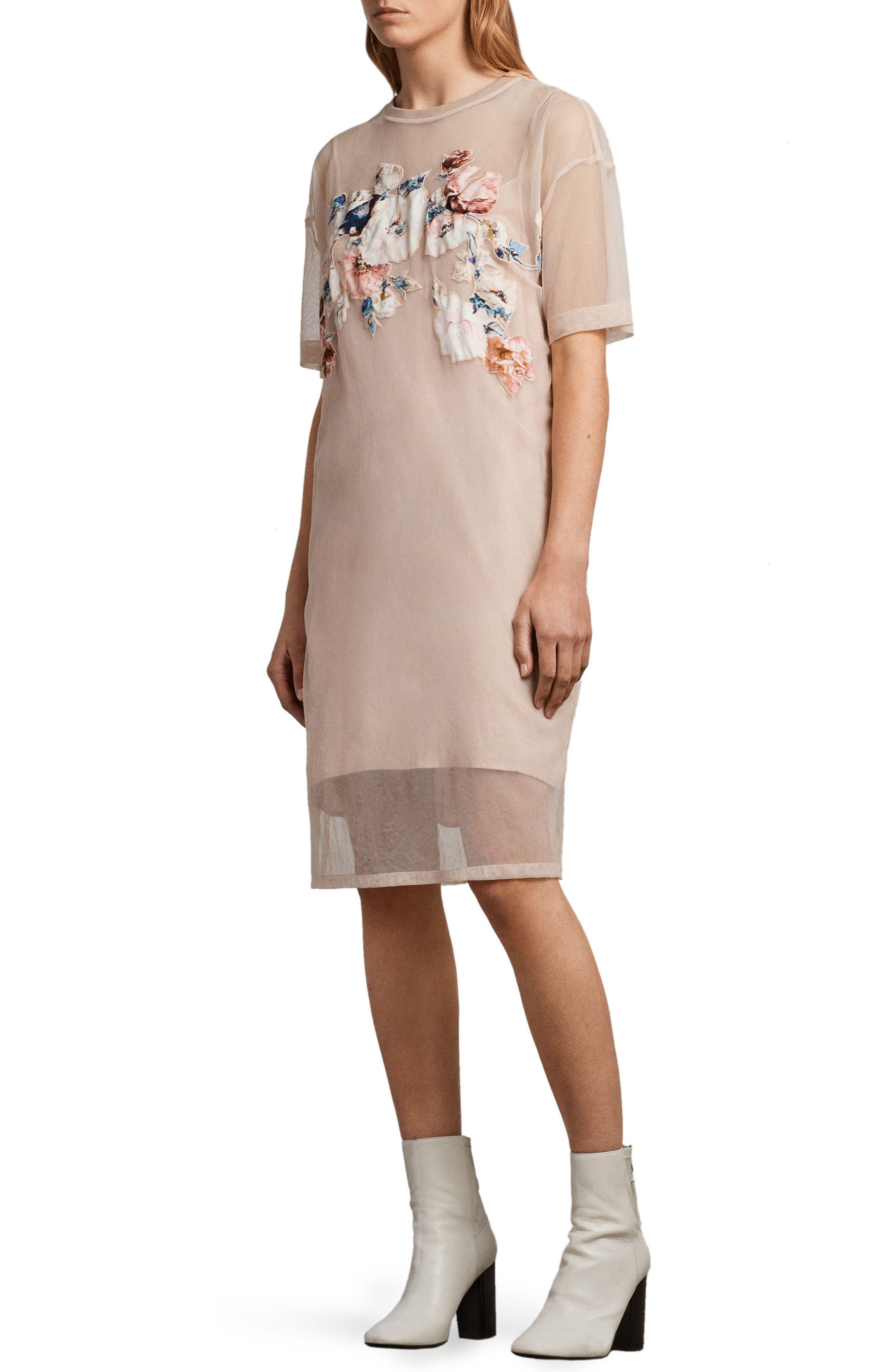 Kyla Floral Print Dress,                             Alternate thumbnail 3, color,                             Pale Pink
