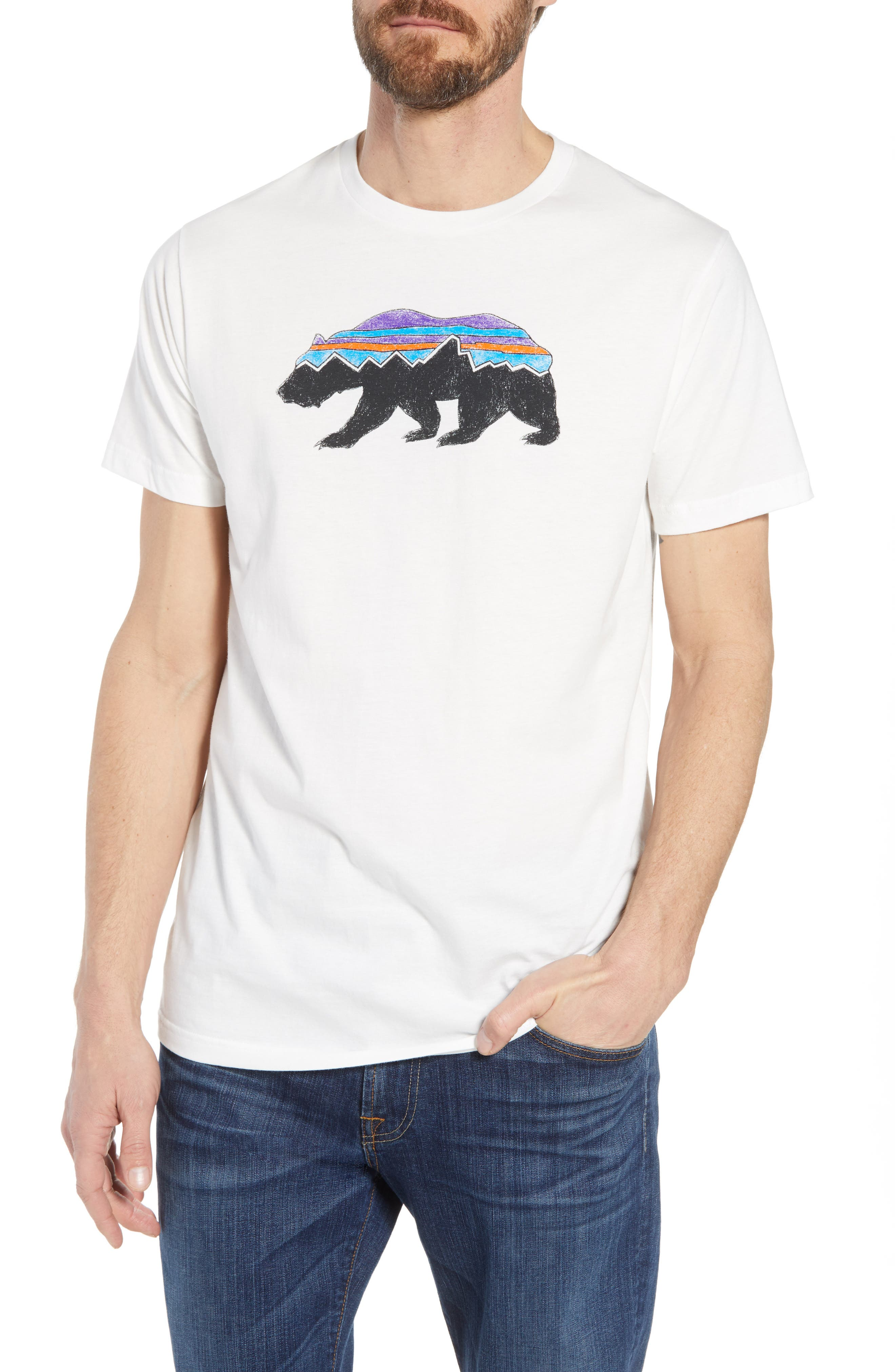 Fitz Roy Bear Crewneck T-Shirt,                             Main thumbnail 1, color,                             White