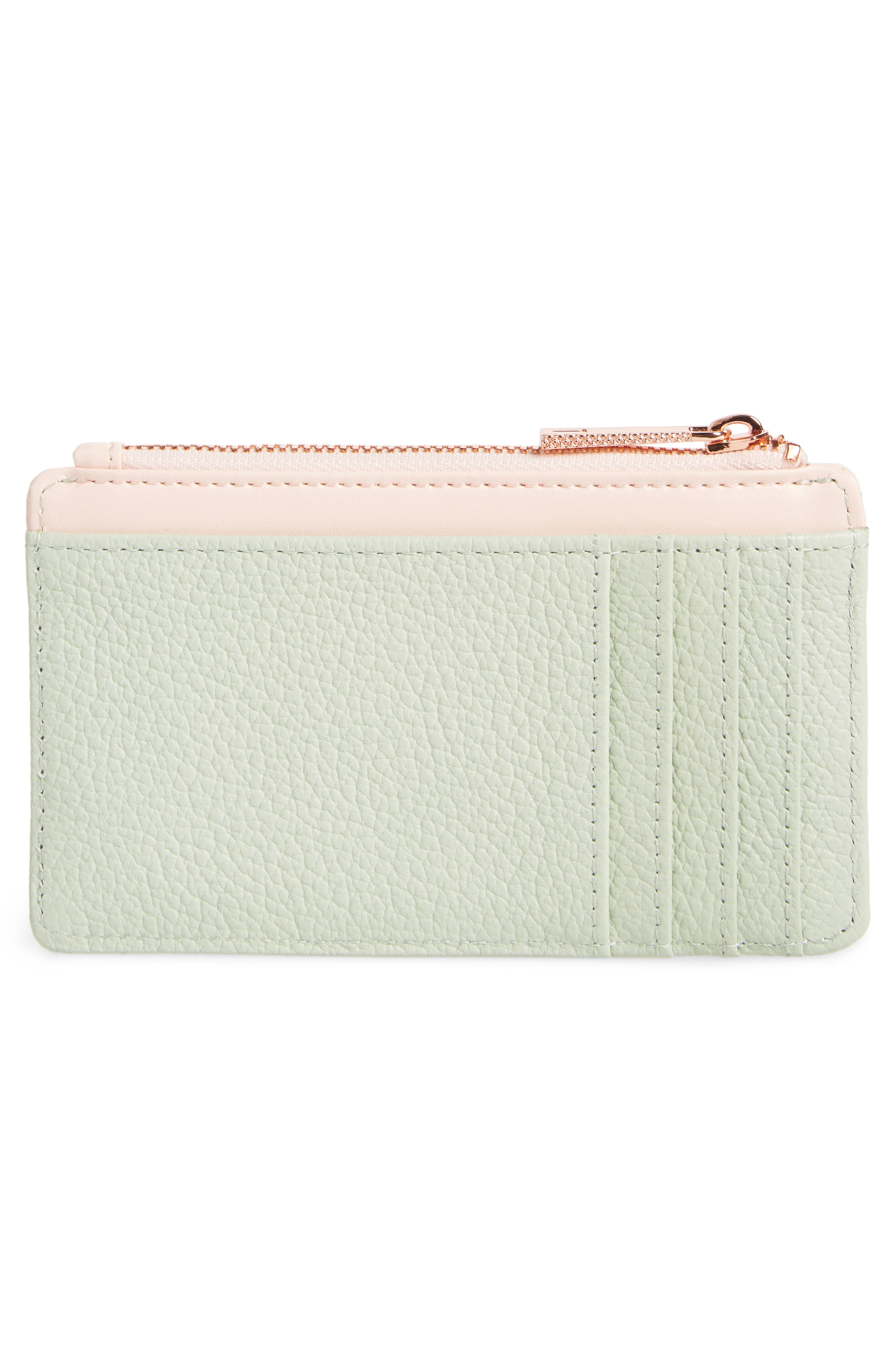 Alica Top Zip Leather Card Case,                             Alternate thumbnail 4, color,                             Olive