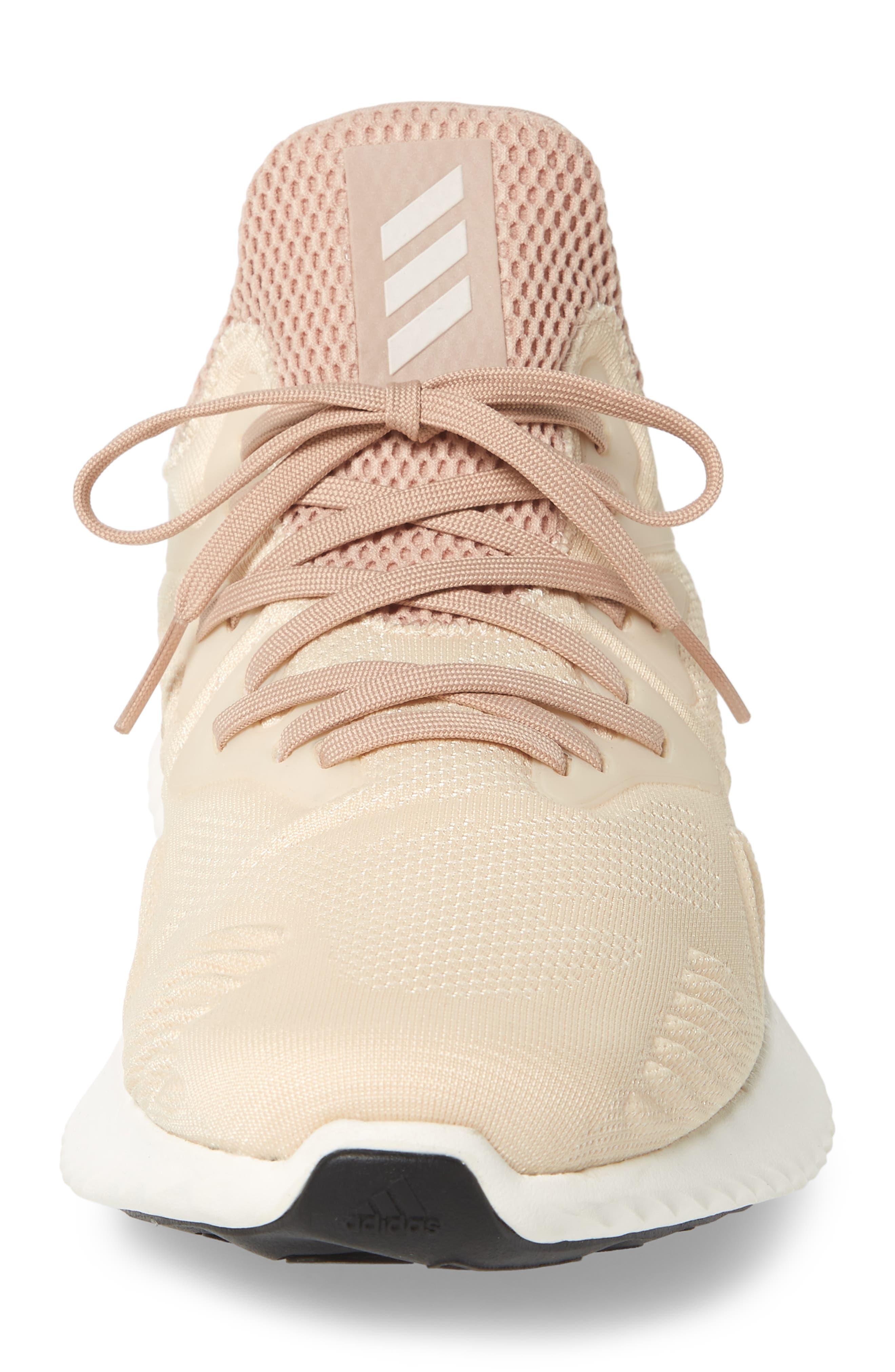 AlphaBounce Beyond Knit Running Shoe,                             Alternate thumbnail 4, color,                             Linen/ White/ Asphalt