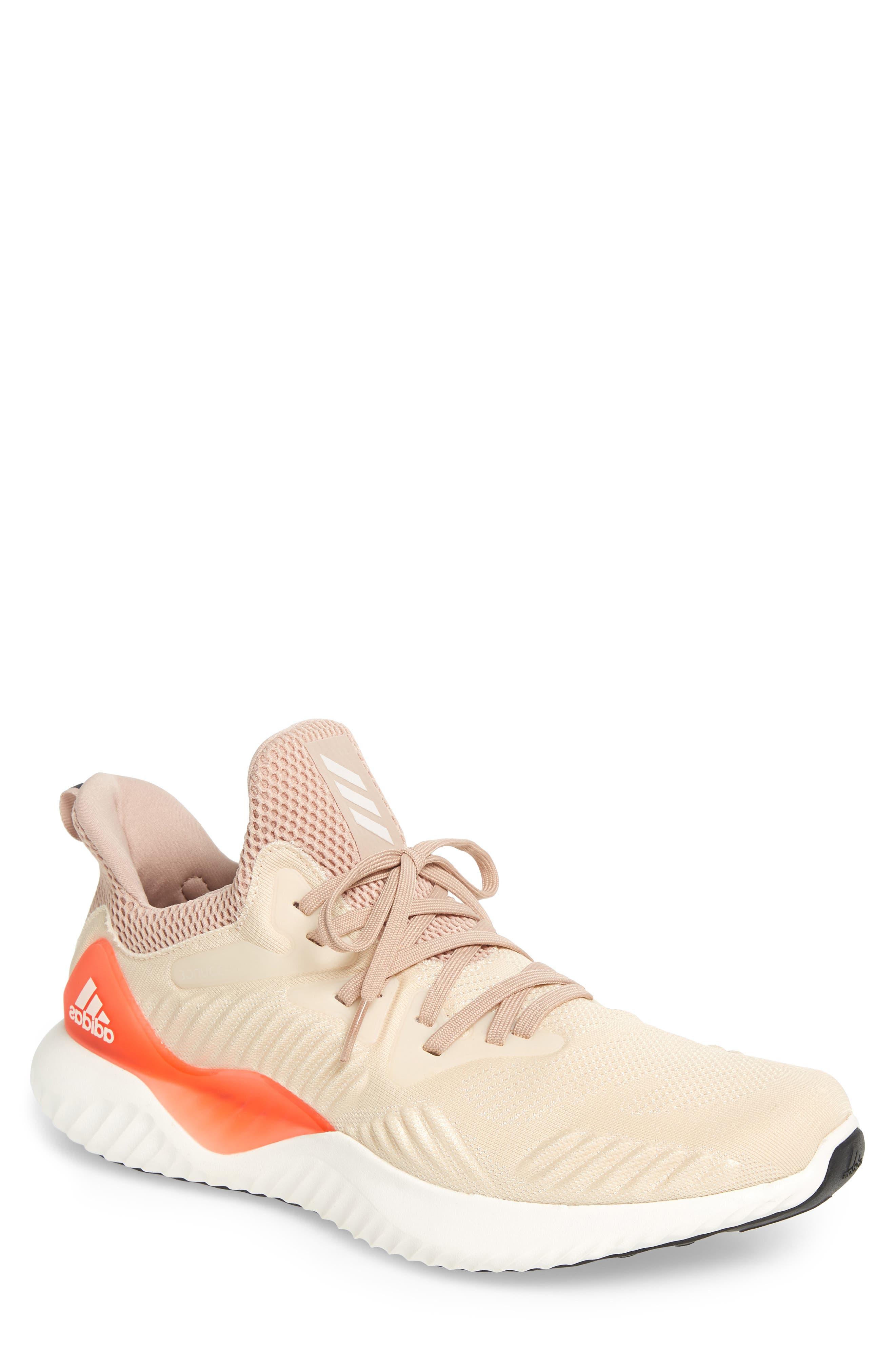 AlphaBounce Beyond Knit Running Shoe,                         Main,                         color, Linen/ White/ Asphalt