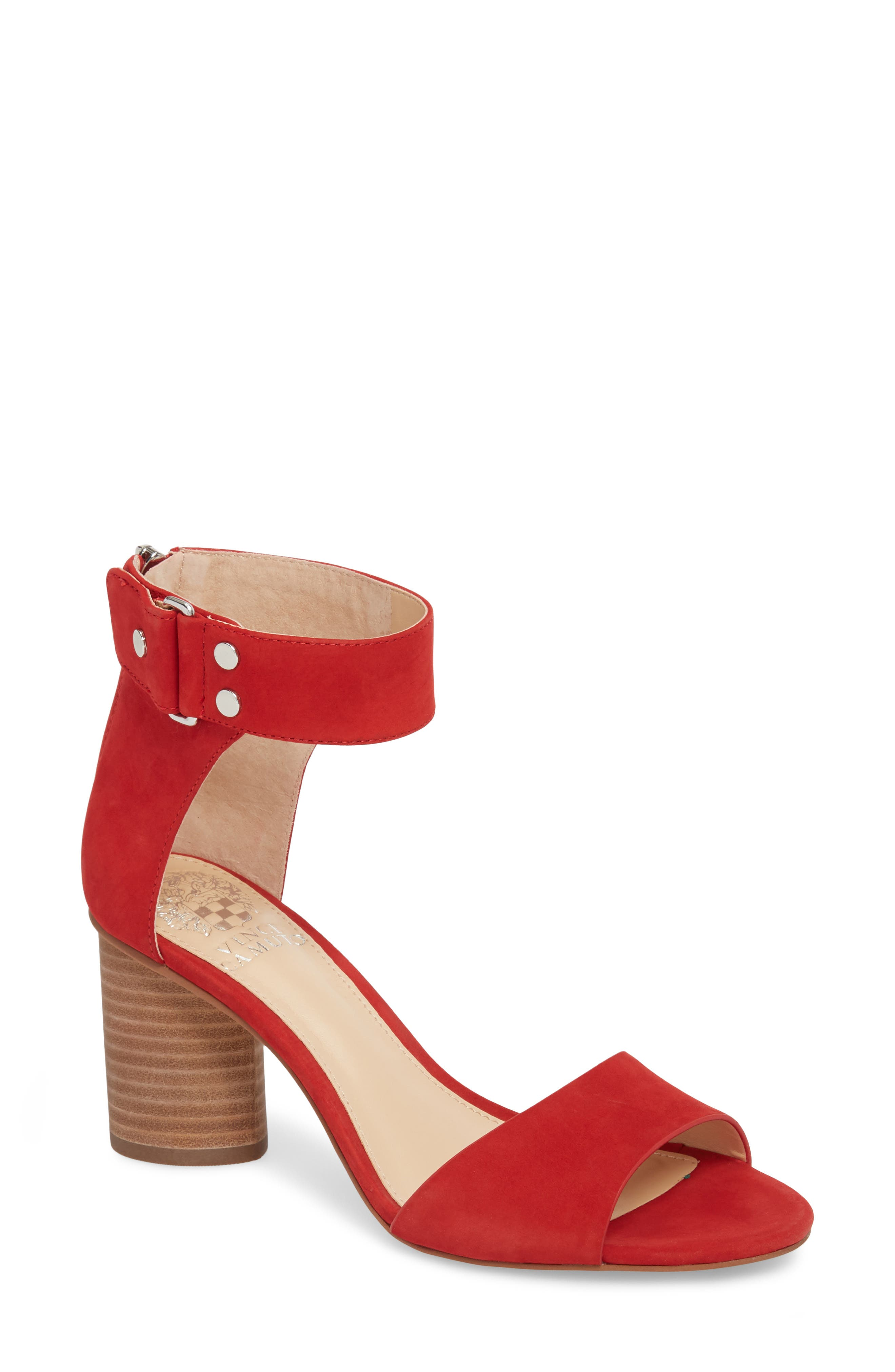 Jannali Ankle Strap Sandal,                         Main,                         color, Cherry Red Leather