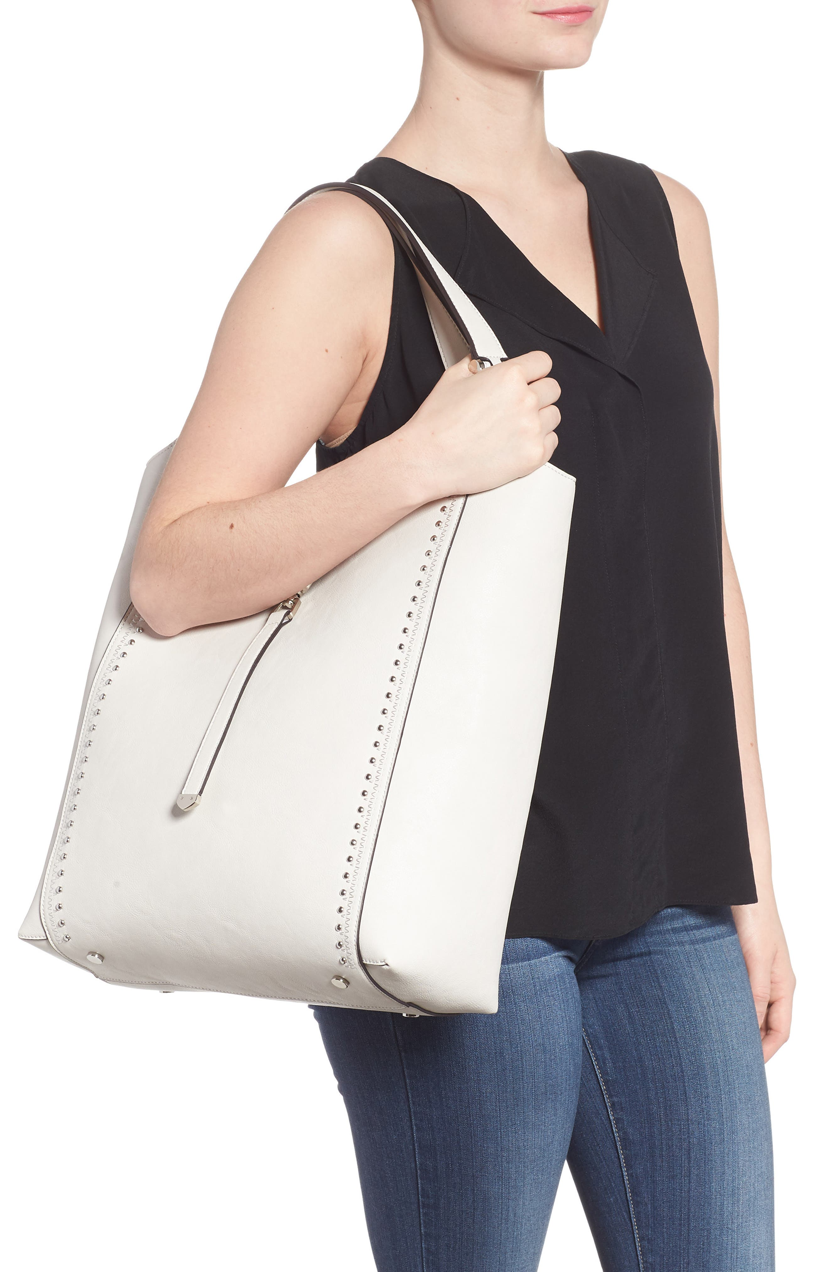 Large Studded Faux Leather Tote,                             Alternate thumbnail 2, color,                             Linen