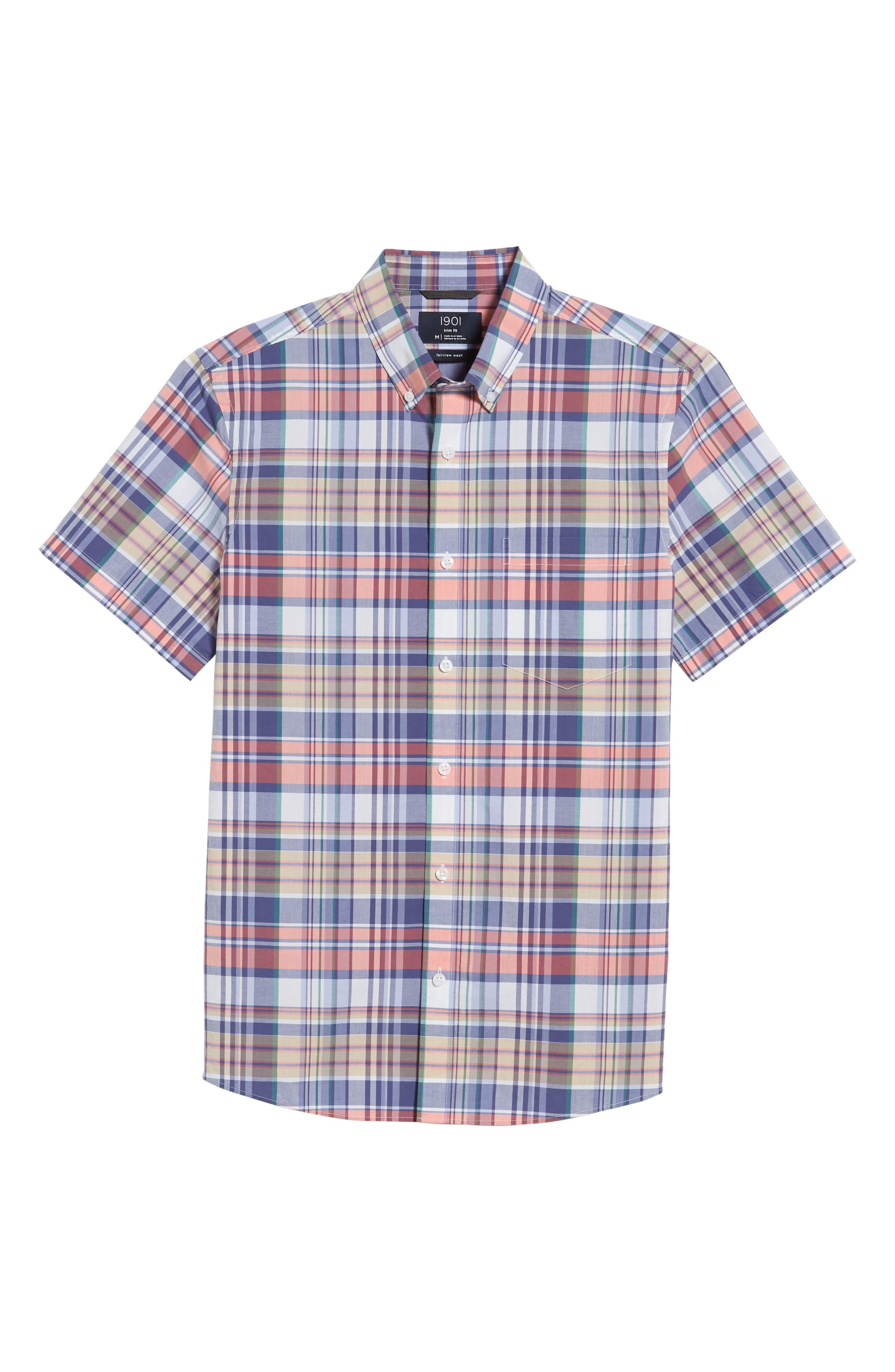 Trim Fit Plaid Short Sleeve Sport Shirt,                             Alternate thumbnail 6, color,                             Navy Coral Multi Plaid