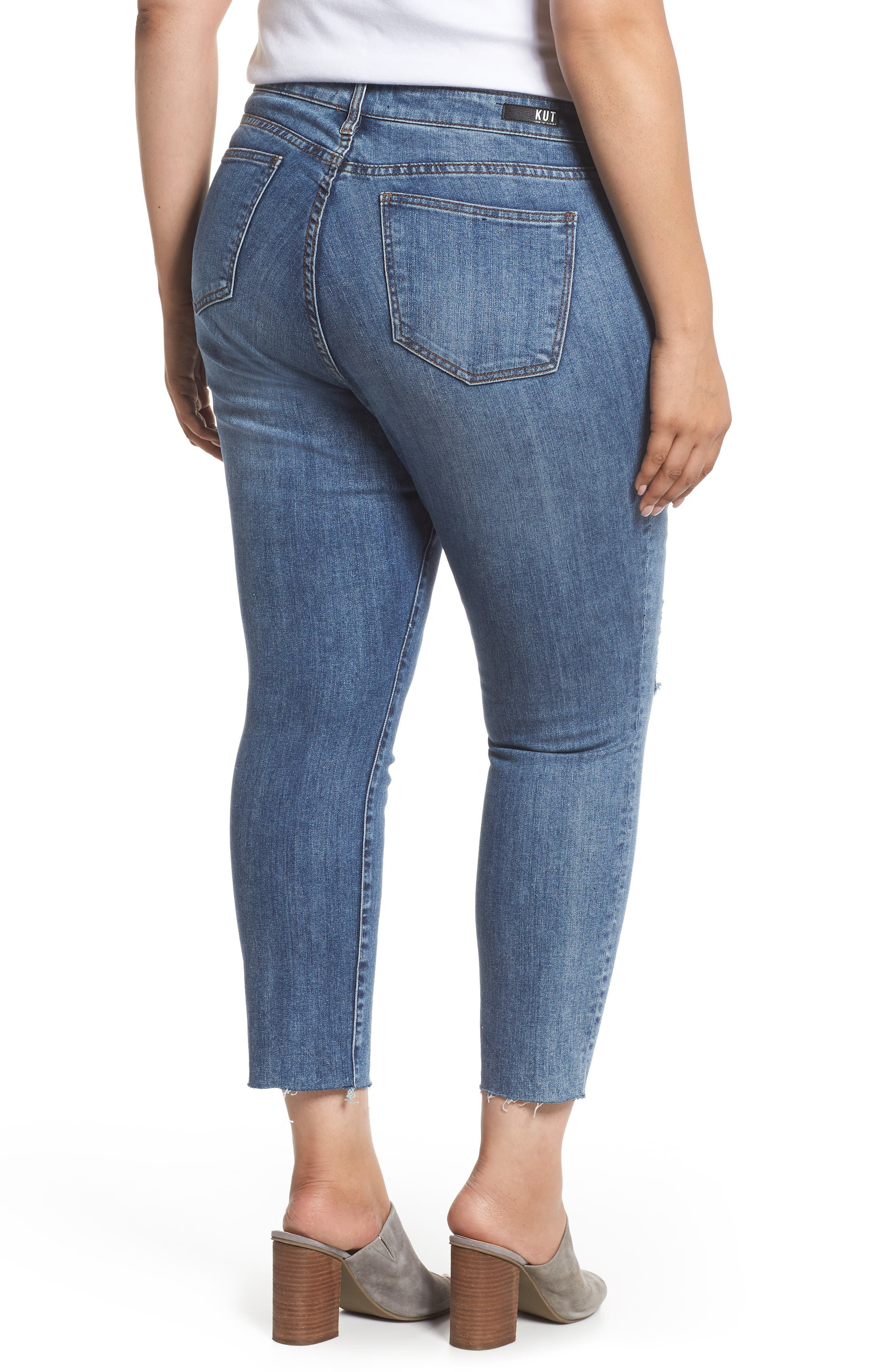 Reese Distressed Ankle Straight Leg Jeans,                             Alternate thumbnail 2, color,                             Appointed