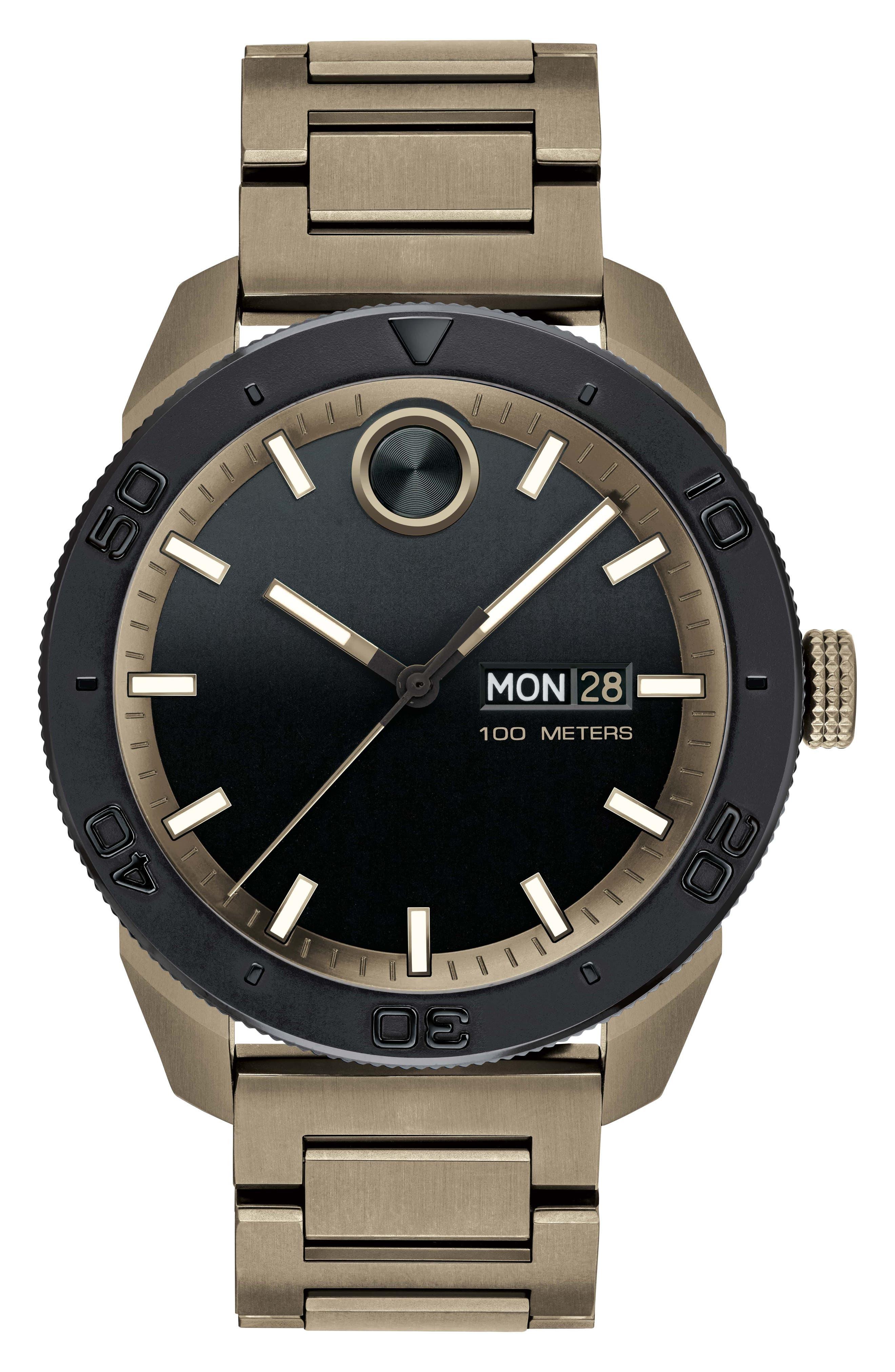 Bold Bracelet Watch, 43.5mm,                             Main thumbnail 1, color,                             Khaki/ Black