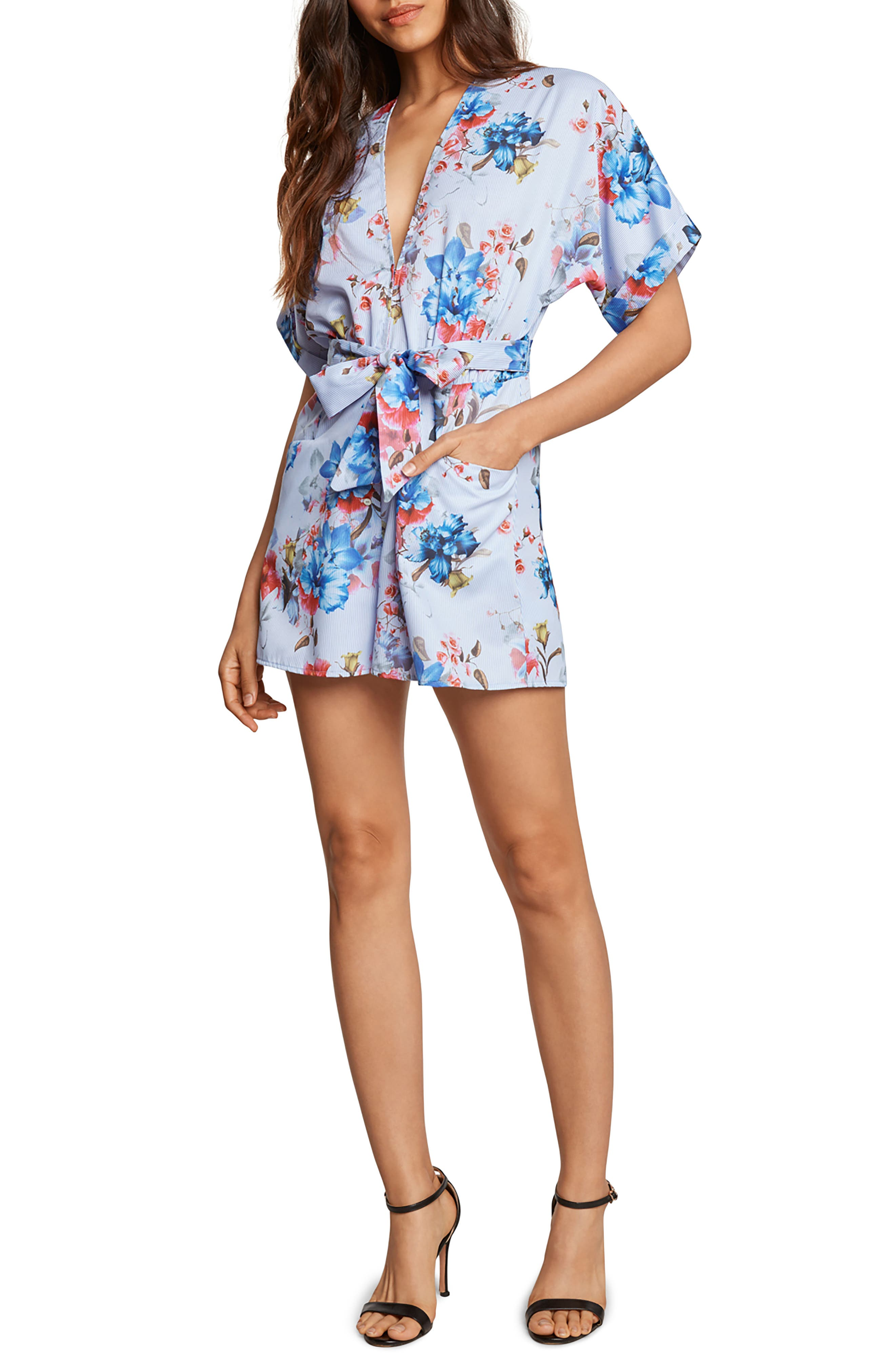 Alessia Plunge Romper,                             Main thumbnail 1, color,                             Chambray