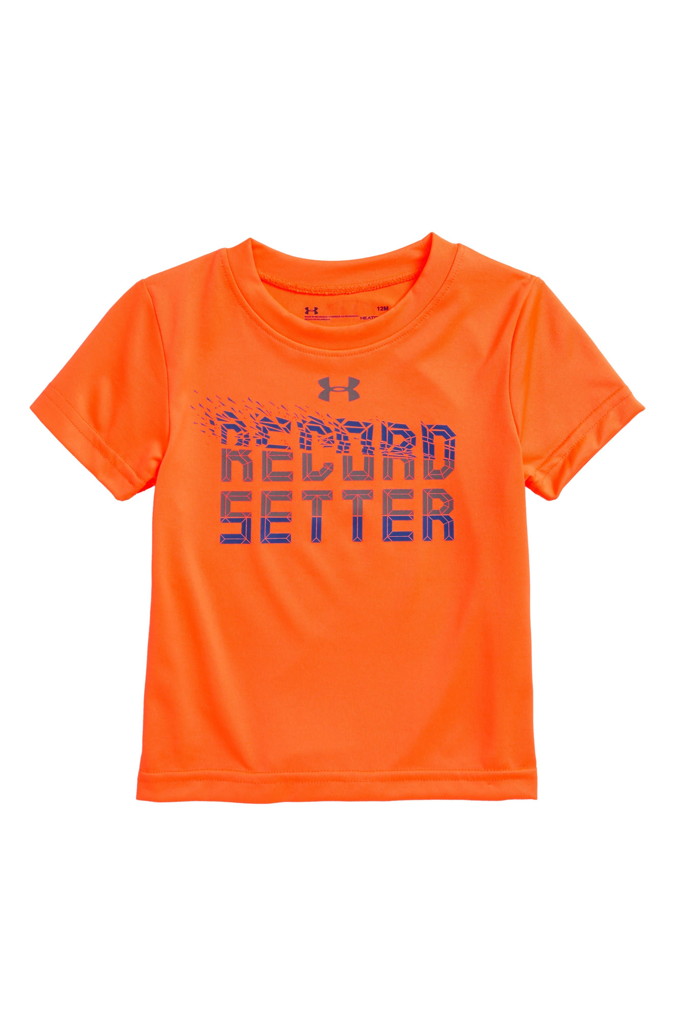 Record Setter HeatGear<sup>®</sup> T-Shirt,                             Main thumbnail 1, color,                             Magma Orange