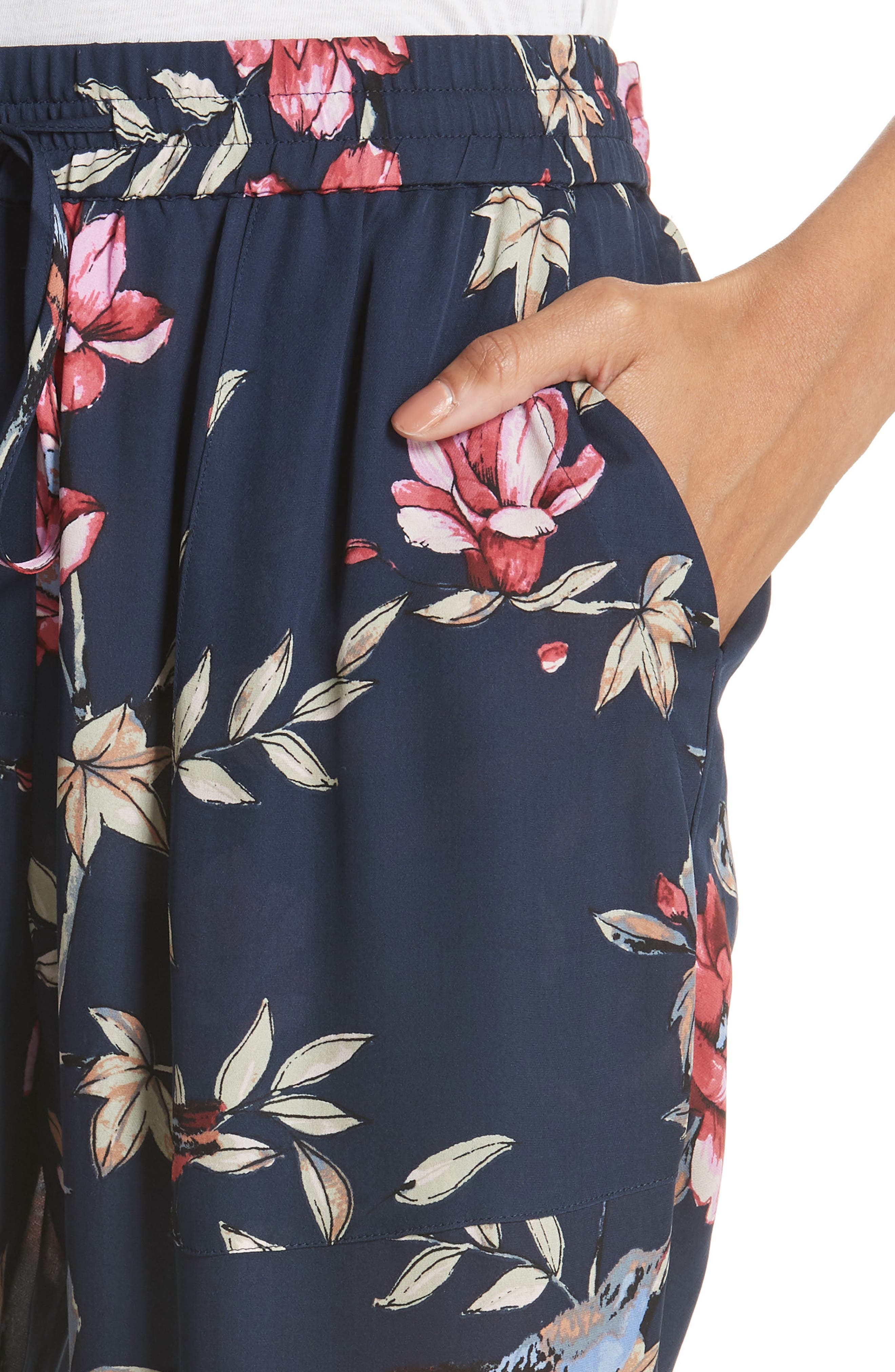 Daltona Floral Silk Pants,                             Alternate thumbnail 4, color,                             Dark Navy