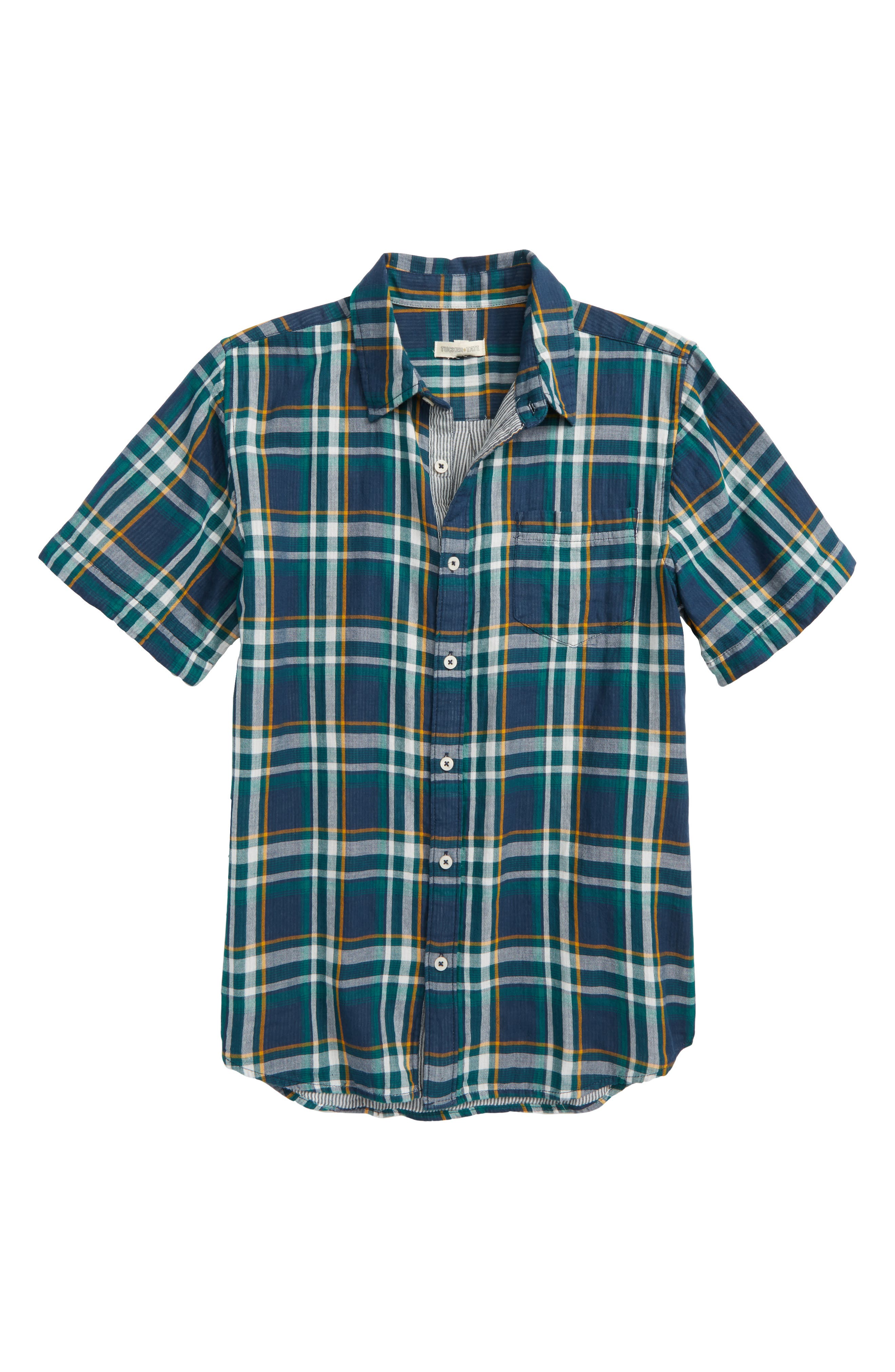 Plaid Woven Shirt,                         Main,                         color, Navy Denim Multi Plaid