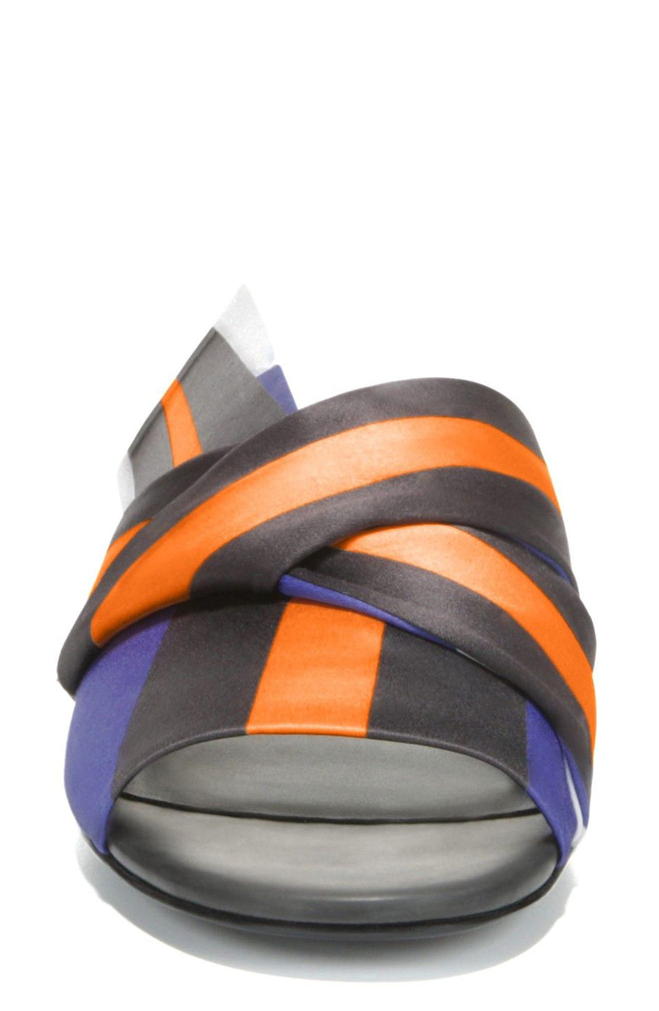 Halina Slide Sandal,                             Alternate thumbnail 4, color,                             Sapphire/ Wine Fabric