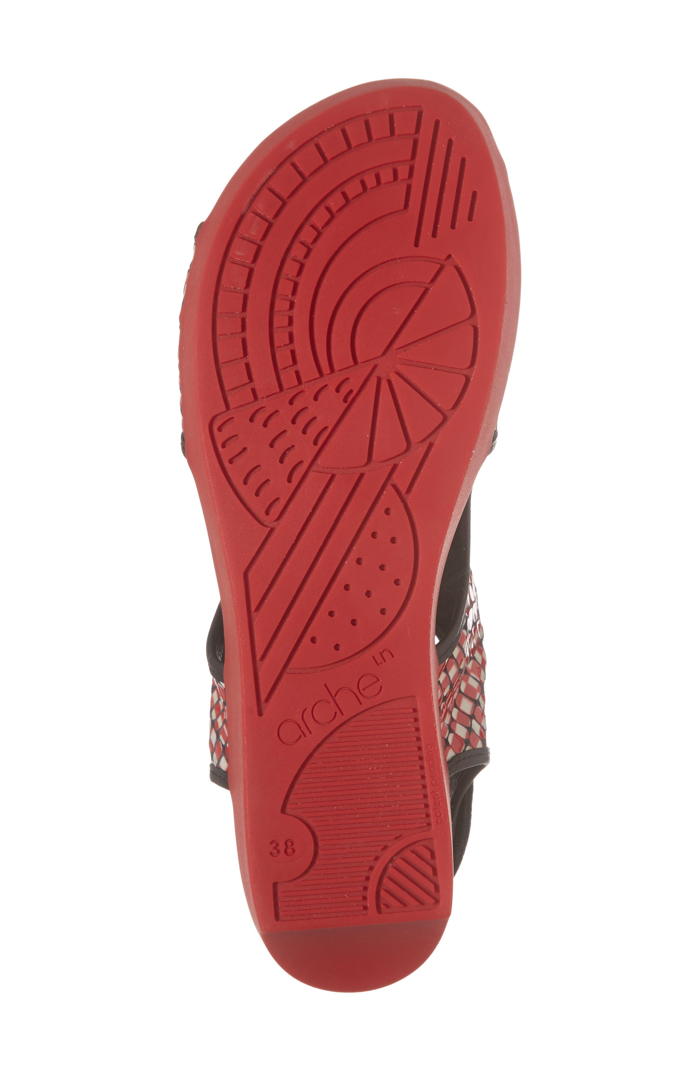 Naka Popa Wedge Sandal,                             Alternate thumbnail 6, color,                             Noir/ Rosso Leather