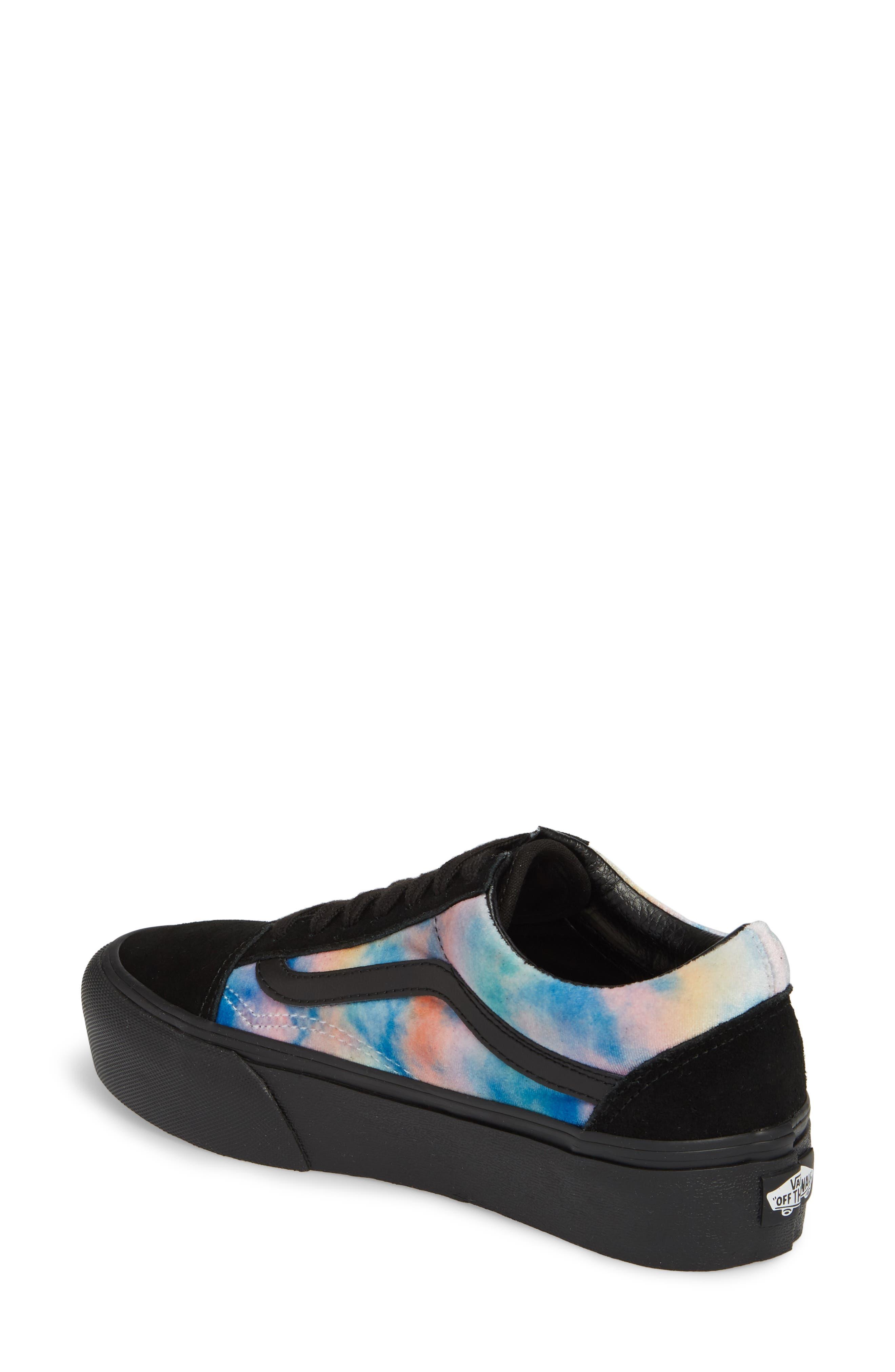Old Skool Platform Sneaker,                             Alternate thumbnail 2, color,                             Velvet Tie-Dye Multi/ Black