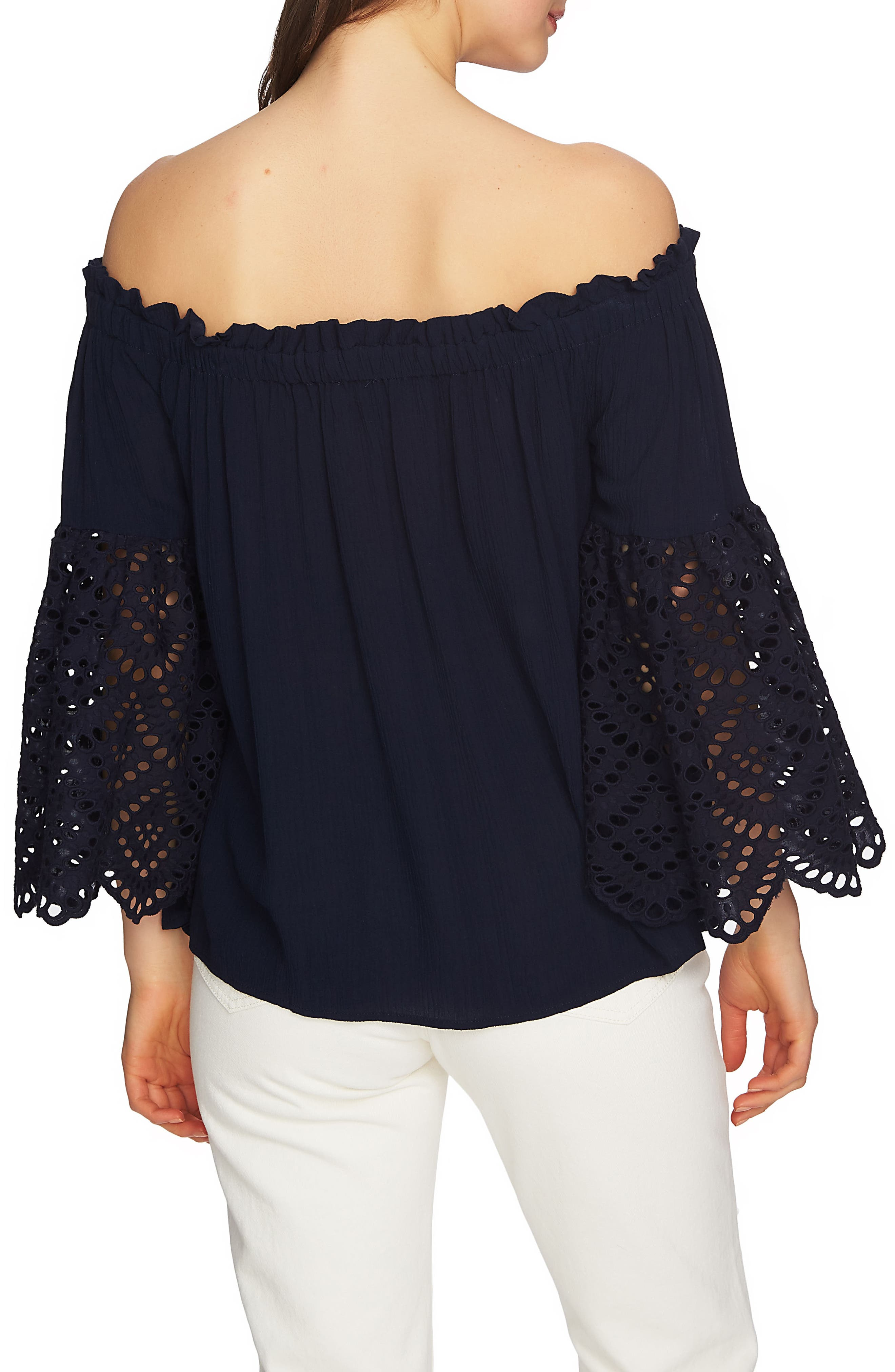 Off the Shoulder Eyelet Sleeves Blouse,                             Alternate thumbnail 2, color,                             Night Navy